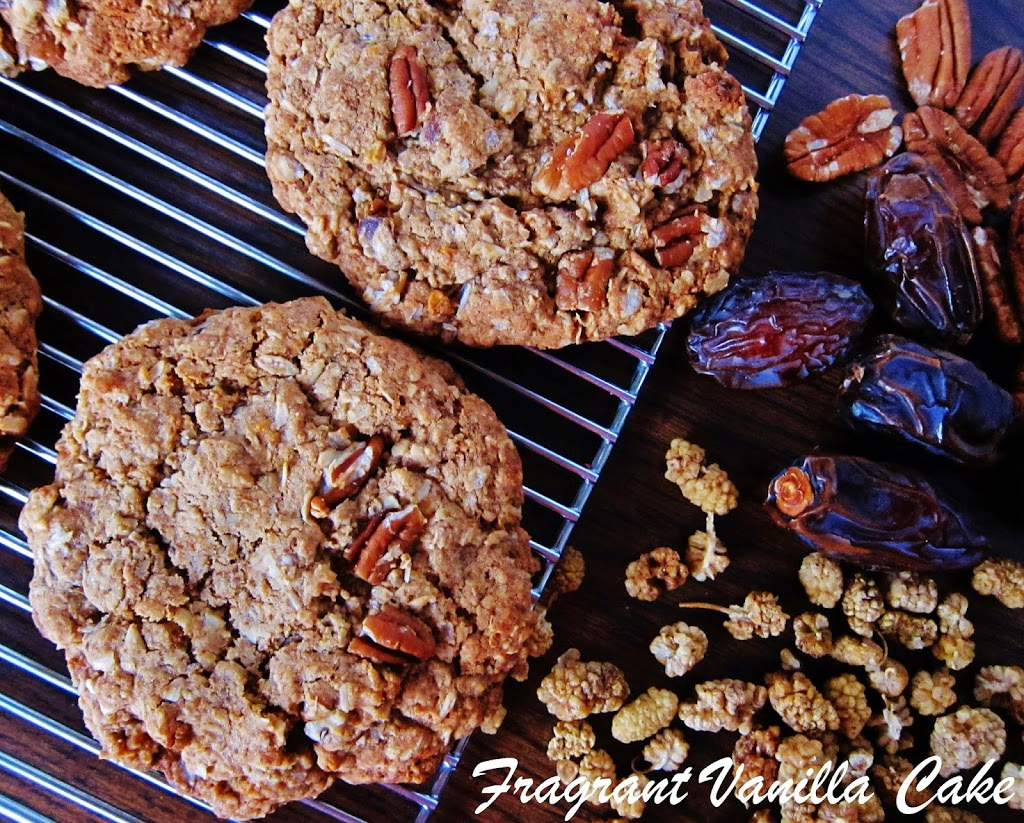 Vegan White Mulberry Date Pecan Oatmeal Cookies