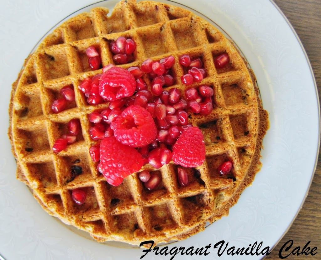 Vegan Raspberry Pomegranate Oat Waffles