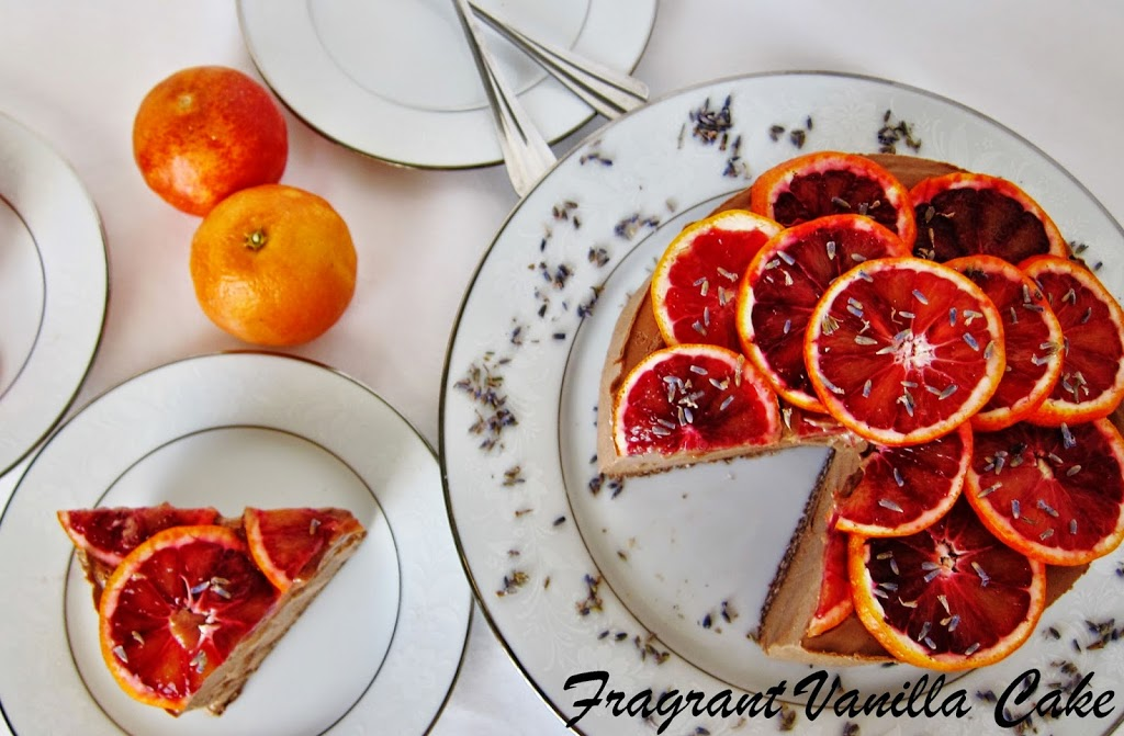Raw Chocolate Blood Orange Caramel Cheesecake with Lavender