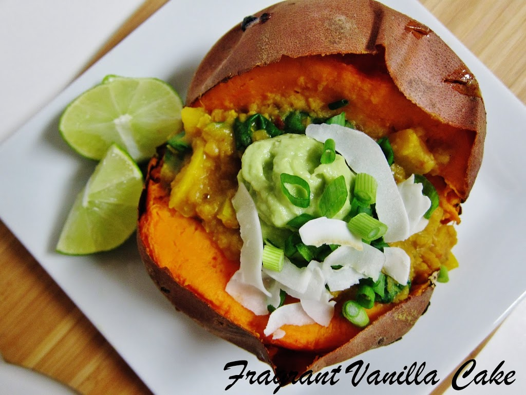 Red Lentil Dal Stuffed Yams with Avocado Lime Cream