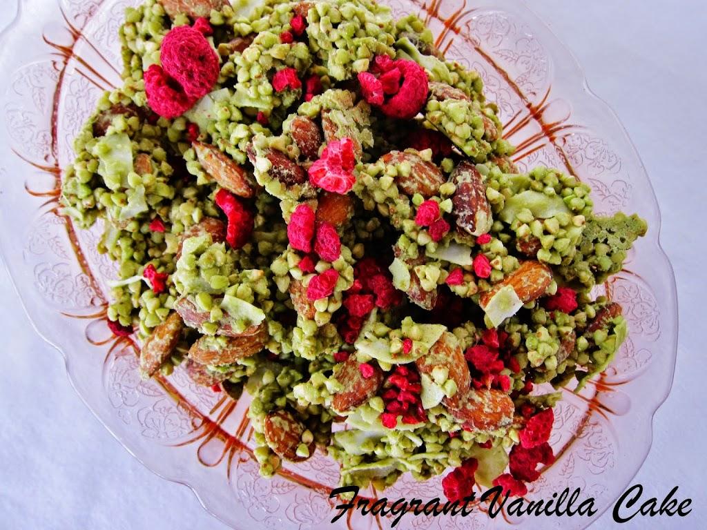 Raw Green Tea Almond Raspberry Granola
