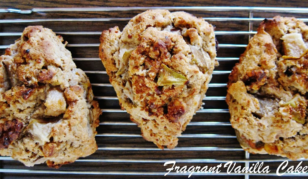 Vegan Maple Oatmeal Walnut Pear Scones