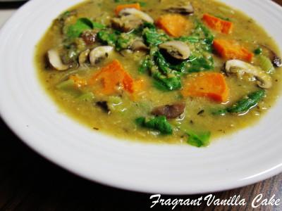 Red Lentil Yam Mushroom Stew