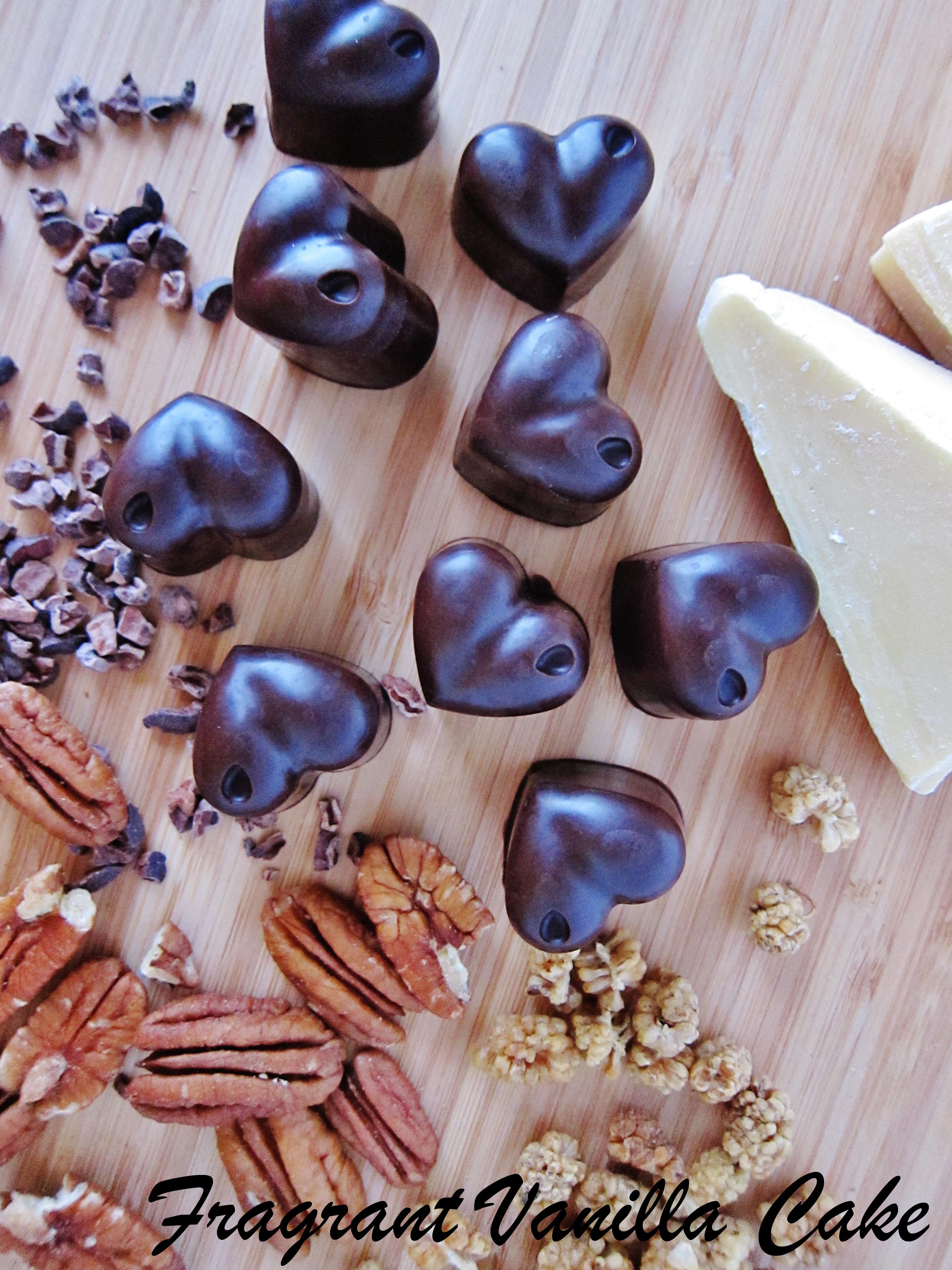 Mulberry Pecan Crunch Dark Chocolates