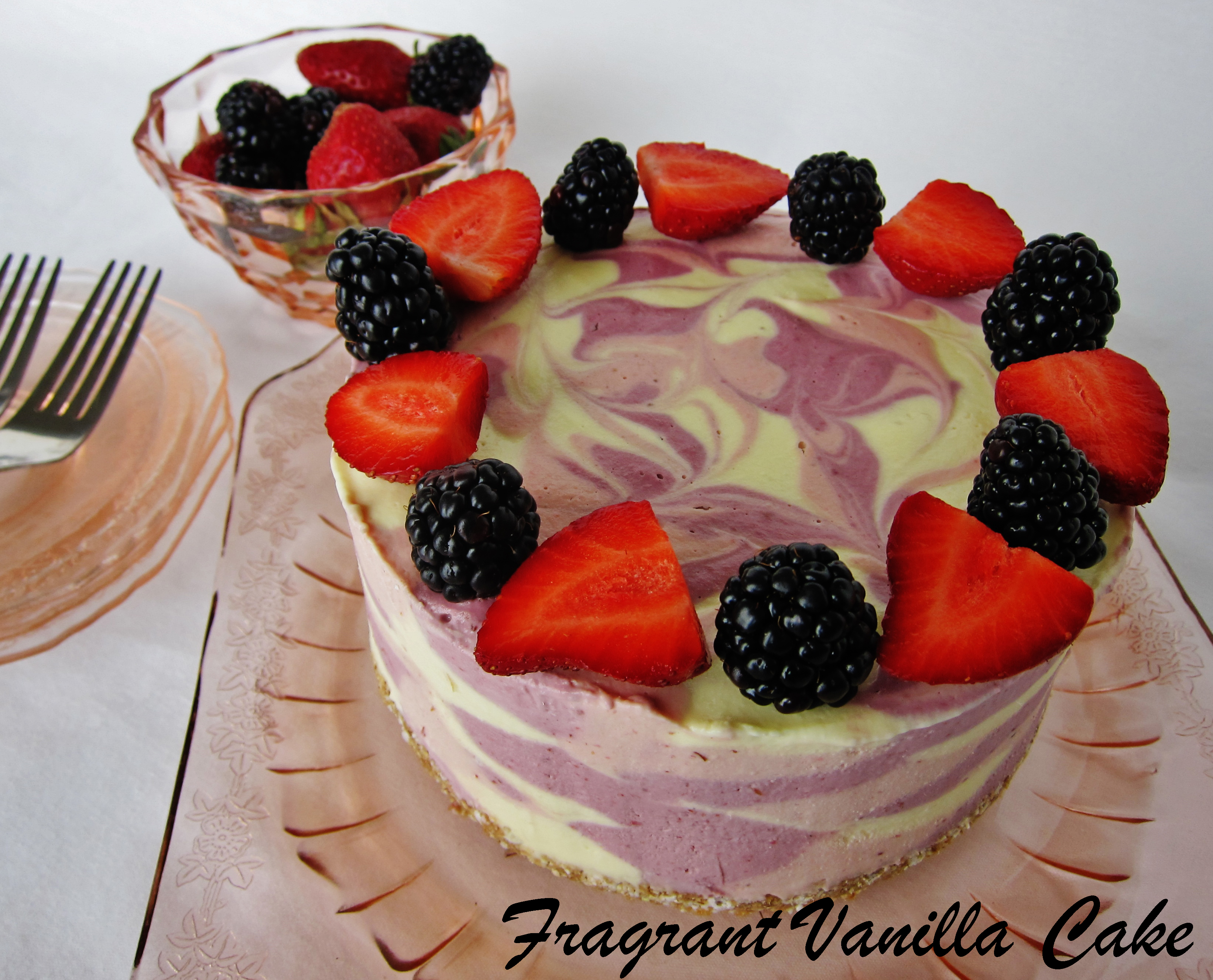 Raw Mango Berry Coconut Yogurt Cake