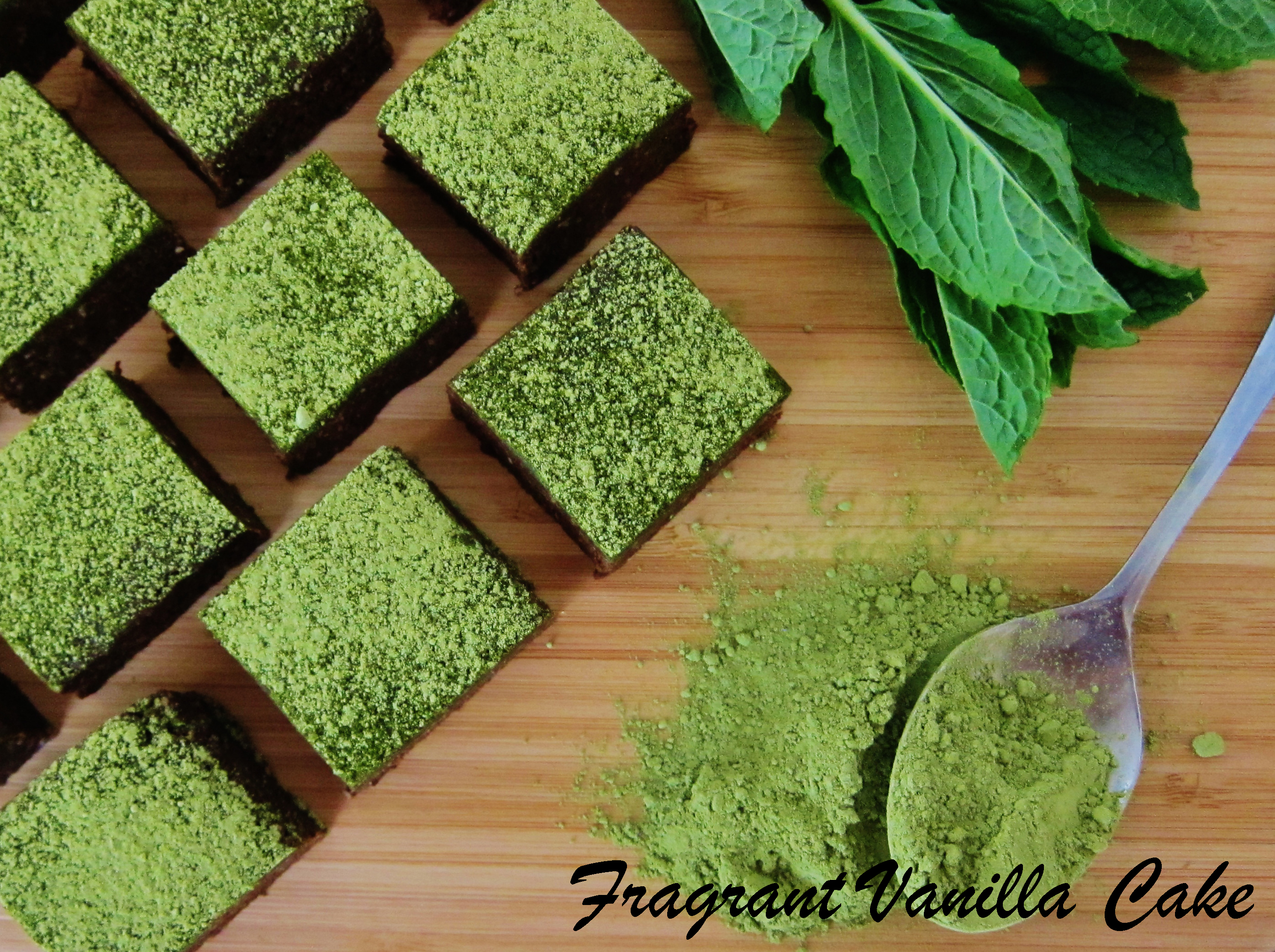 Raw Fudgy Matcha Mint Brownies