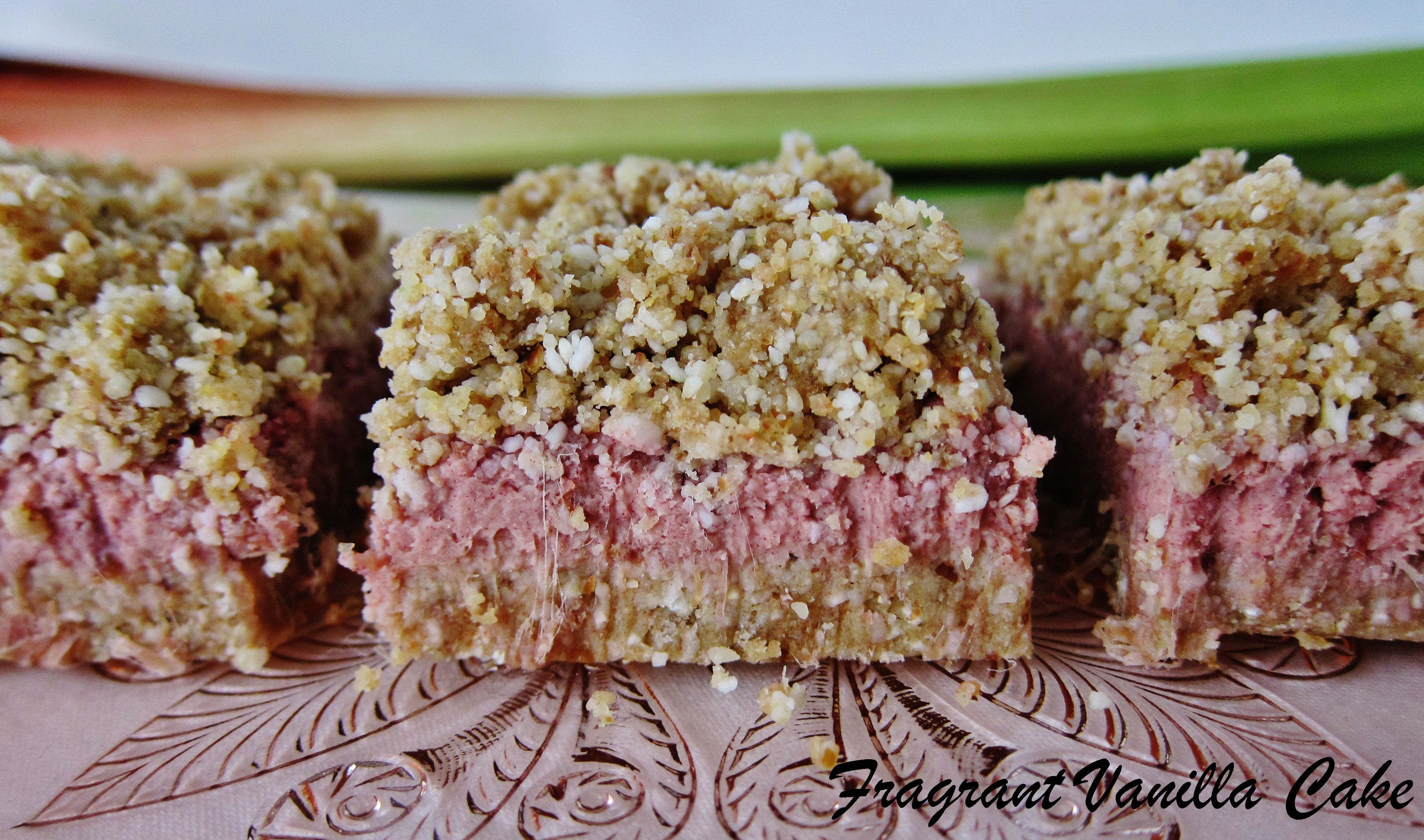 Raw Strawberry Rhubarb Bars