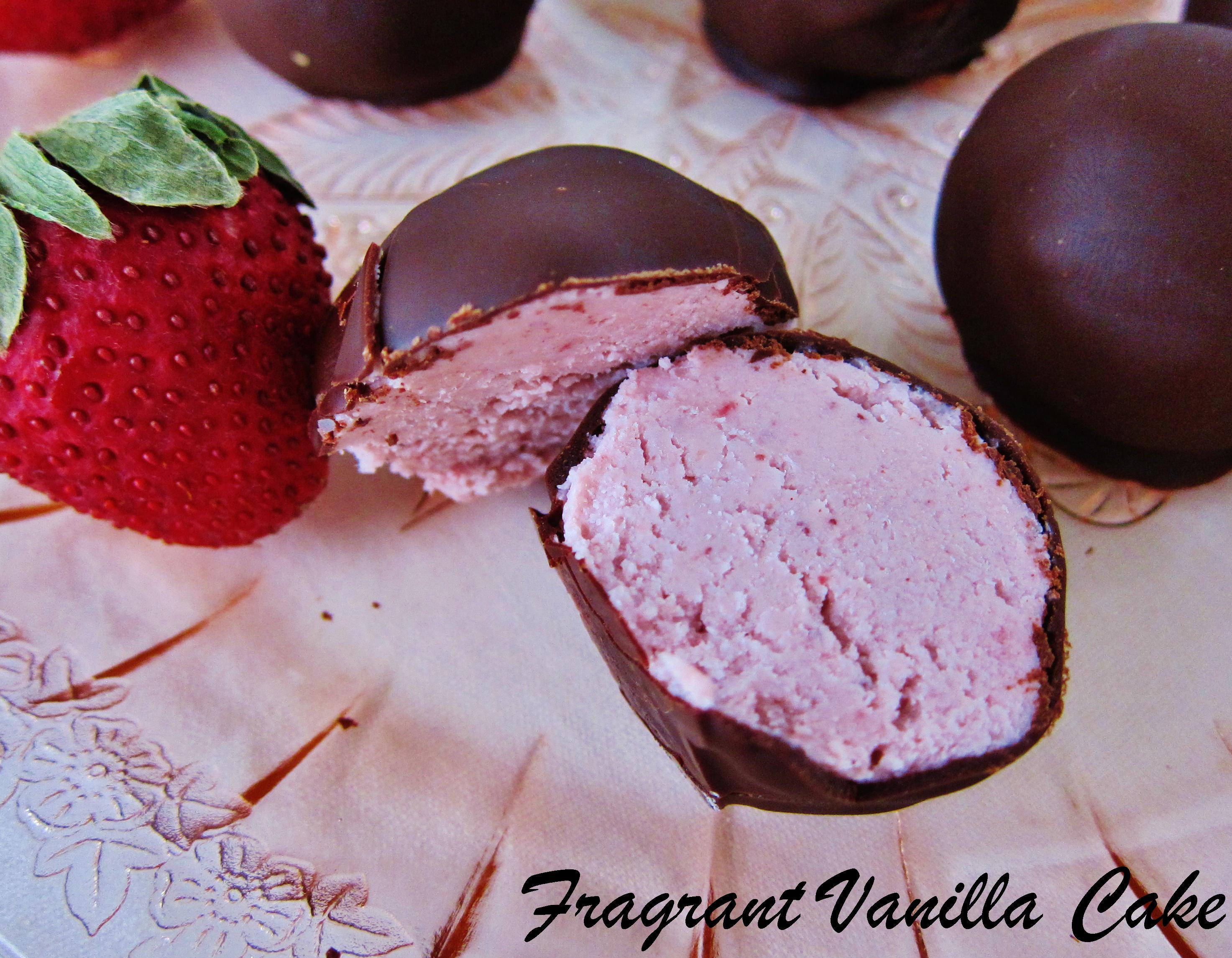 Raw Strawberries and Cream Truffles