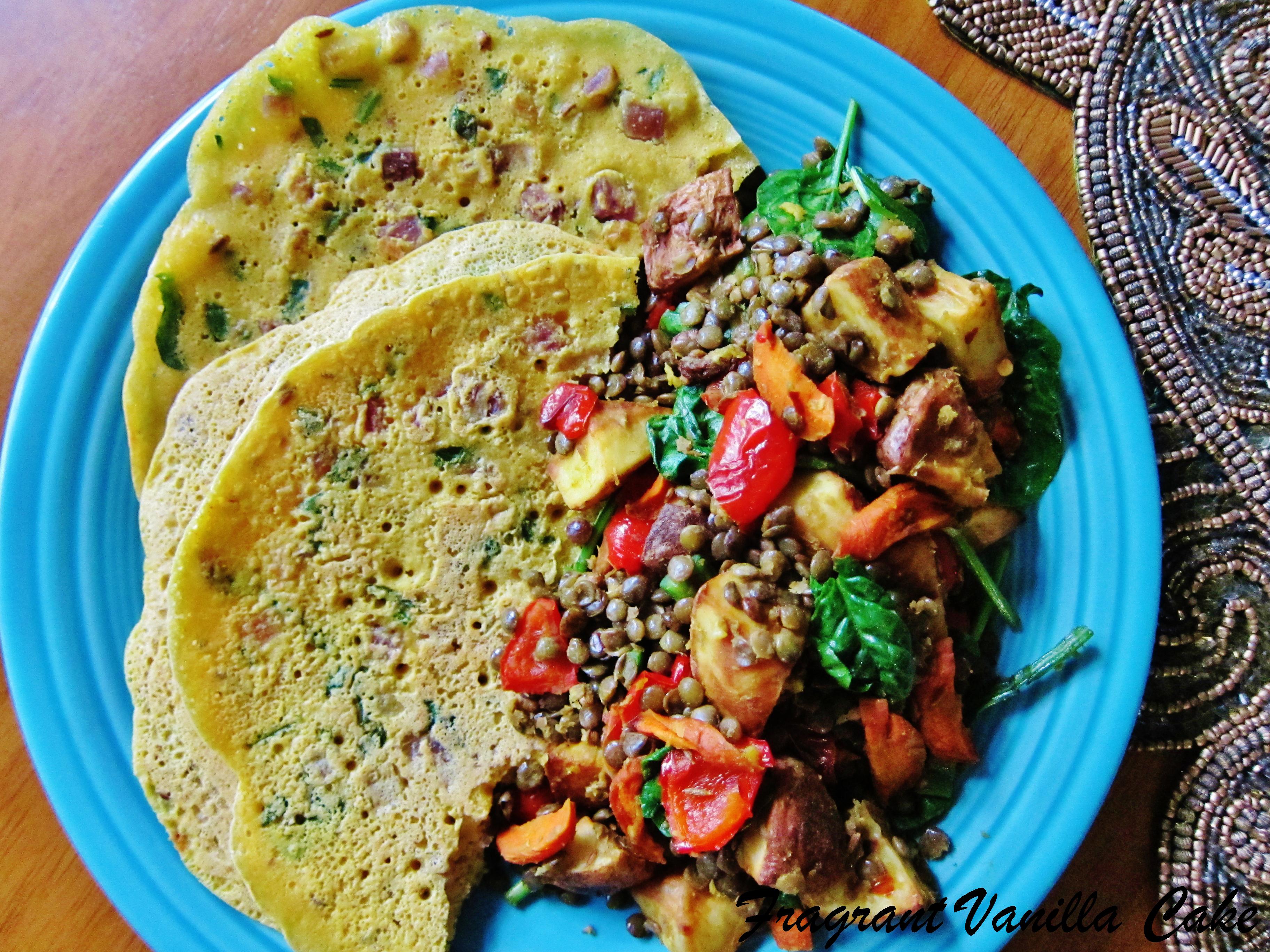 Vegan Chickpea Flour Pancakes and Spiced Lentil Potato Hash