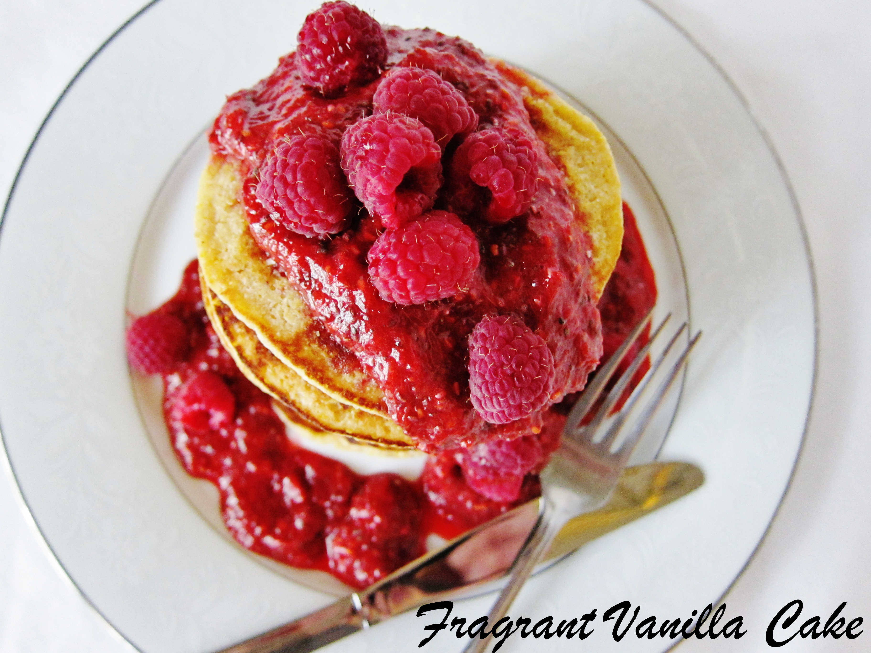 Vegan Lemon Corncakes (gluten free) with Raspberry Rhubarb Sauce