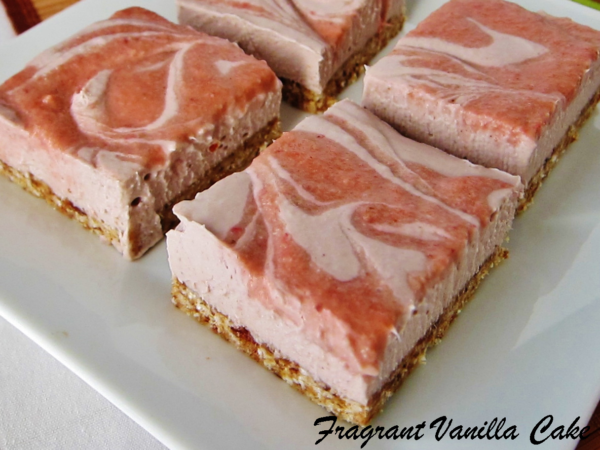 Raw Strawberry Rhubarb Cheesecake Bars