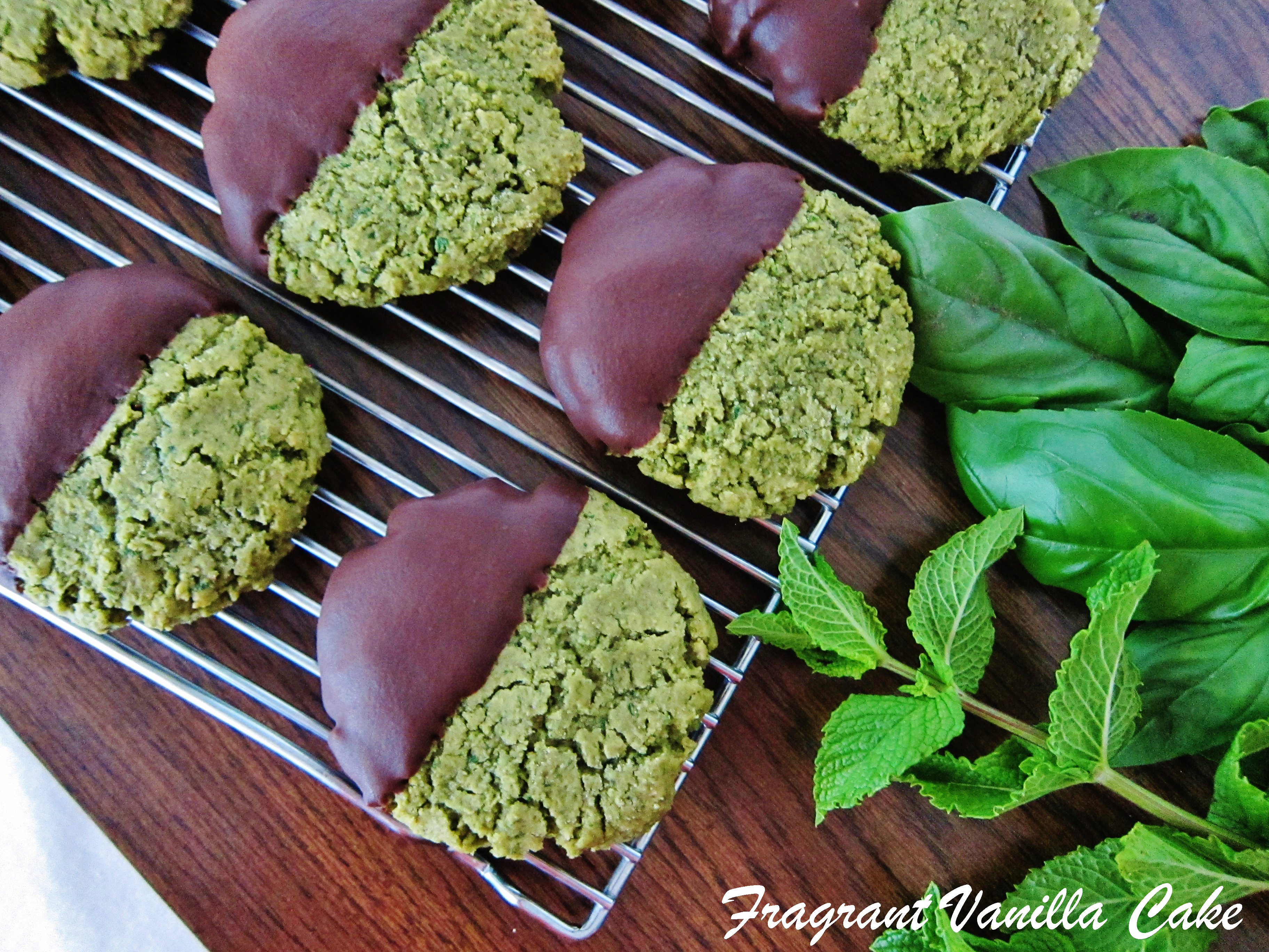 Vegan Chocolate Dipped Basil Mint Sugar Cookies (gluten free)