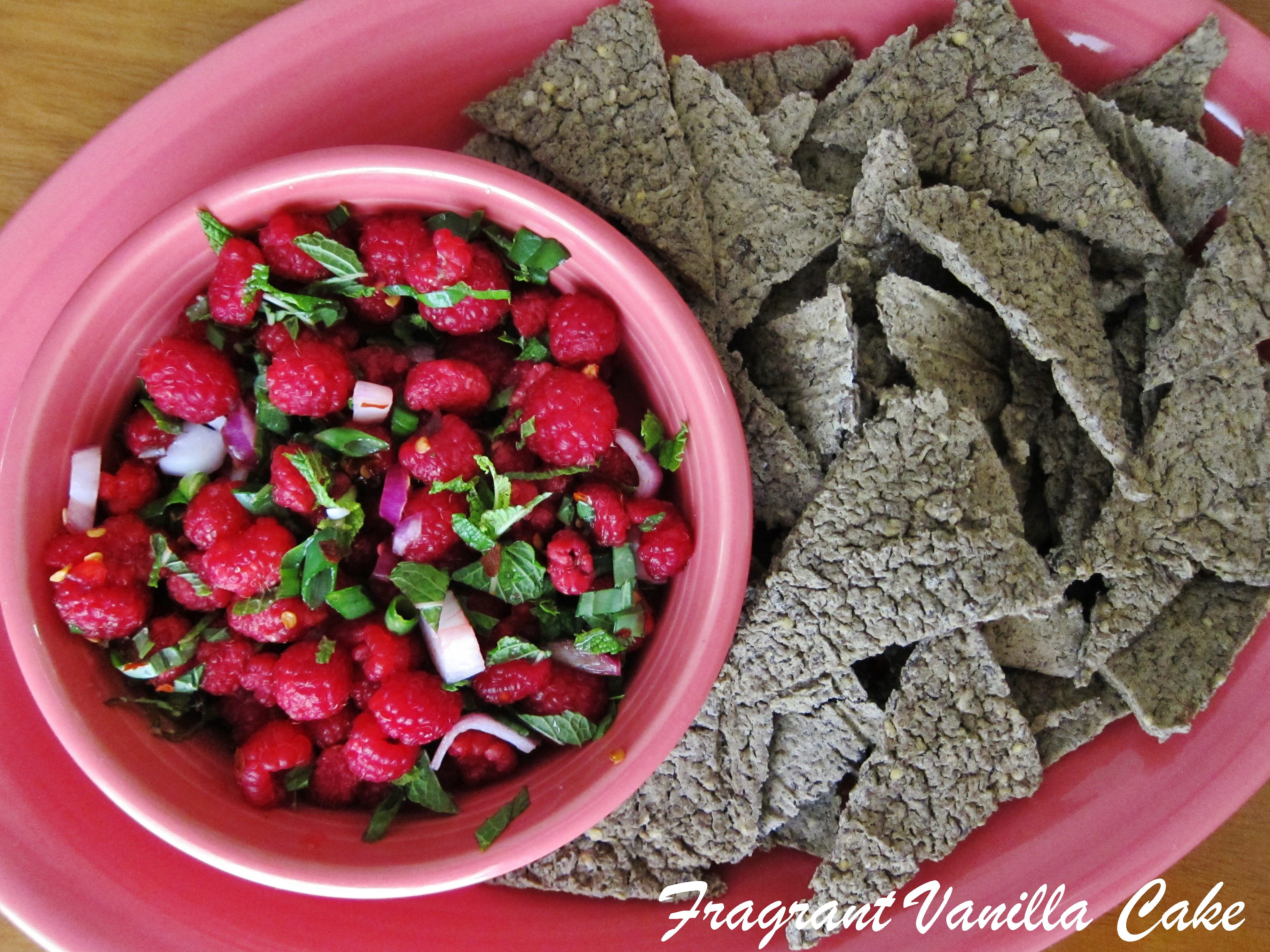 Raspberry Basil Mint Salsa and Spicy Lentil Chips