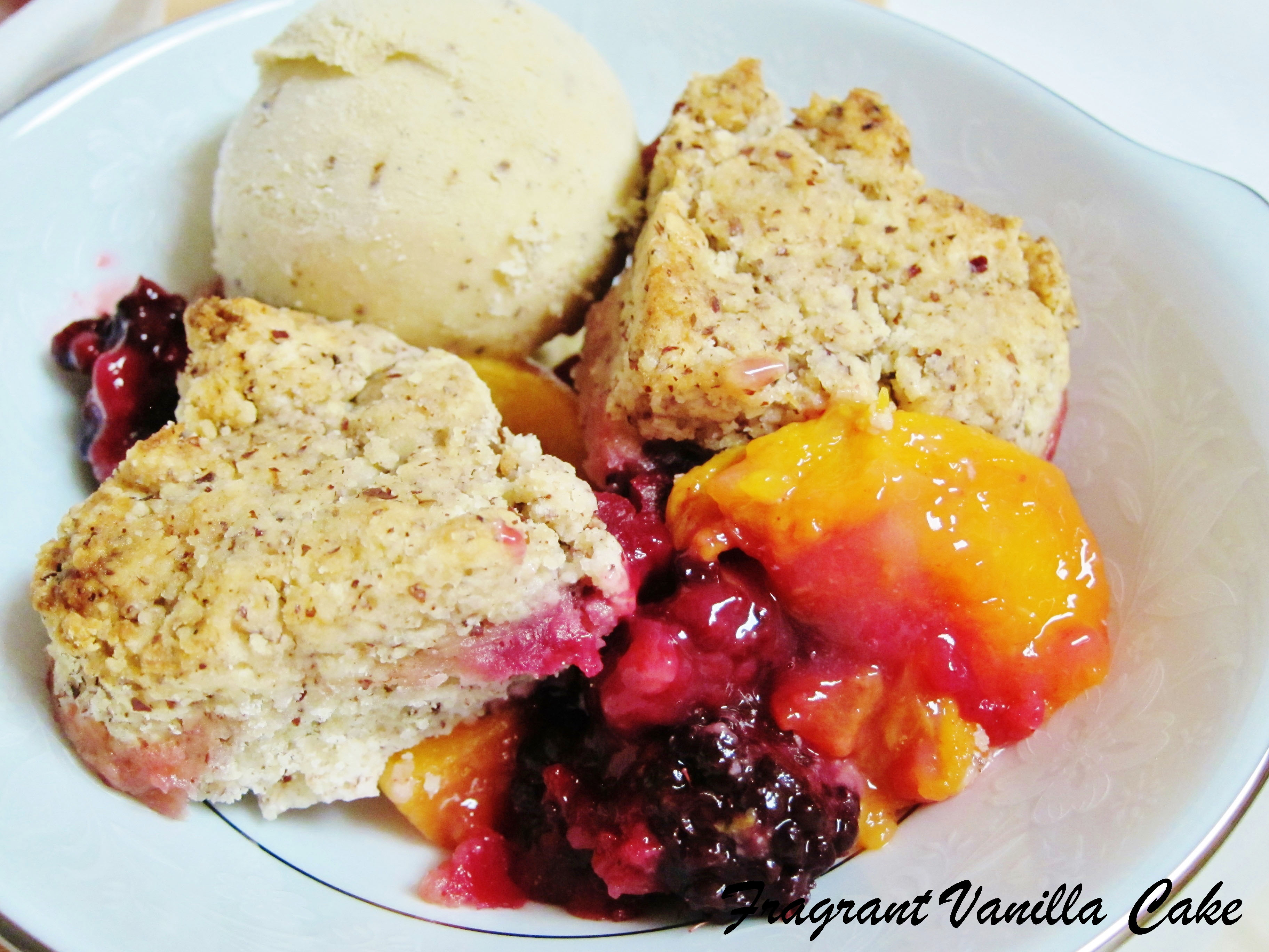 Vegan Peach and Blackberry Cobbler with Pecan Biscuits