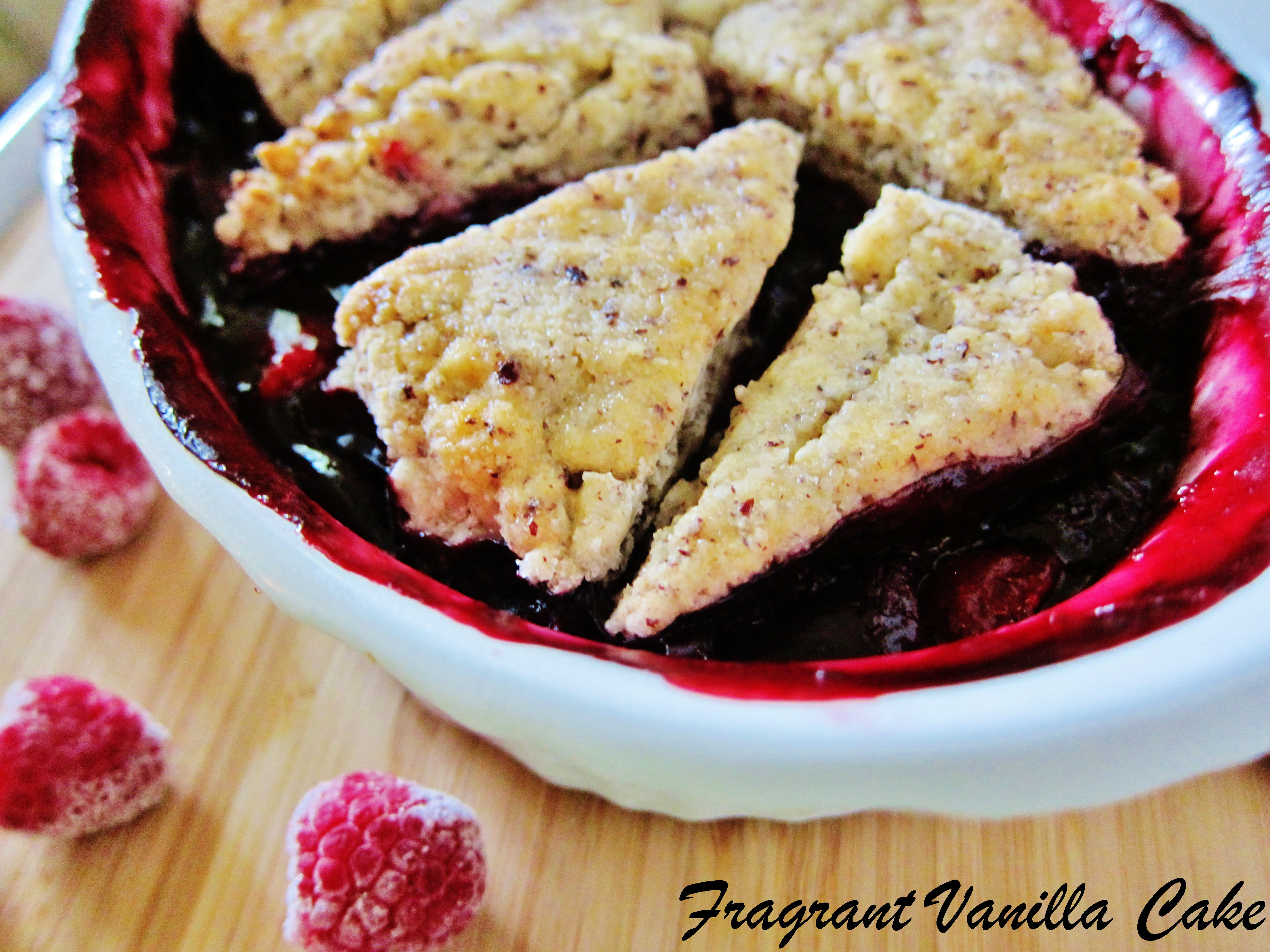 Vegan Triple Berry Cobbler with Hazelnut Biscuits