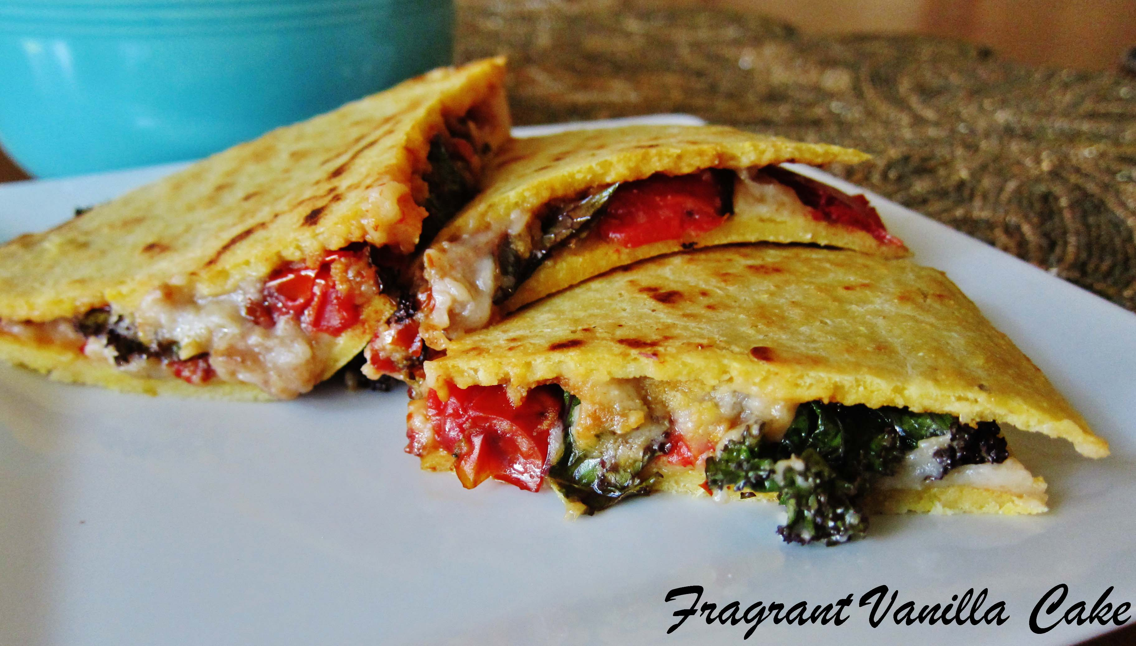 Vegan Roasted Tomato and Kale Quesadillas