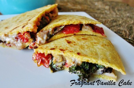 Vegan Roasted Tomato Kale Quesadillas
