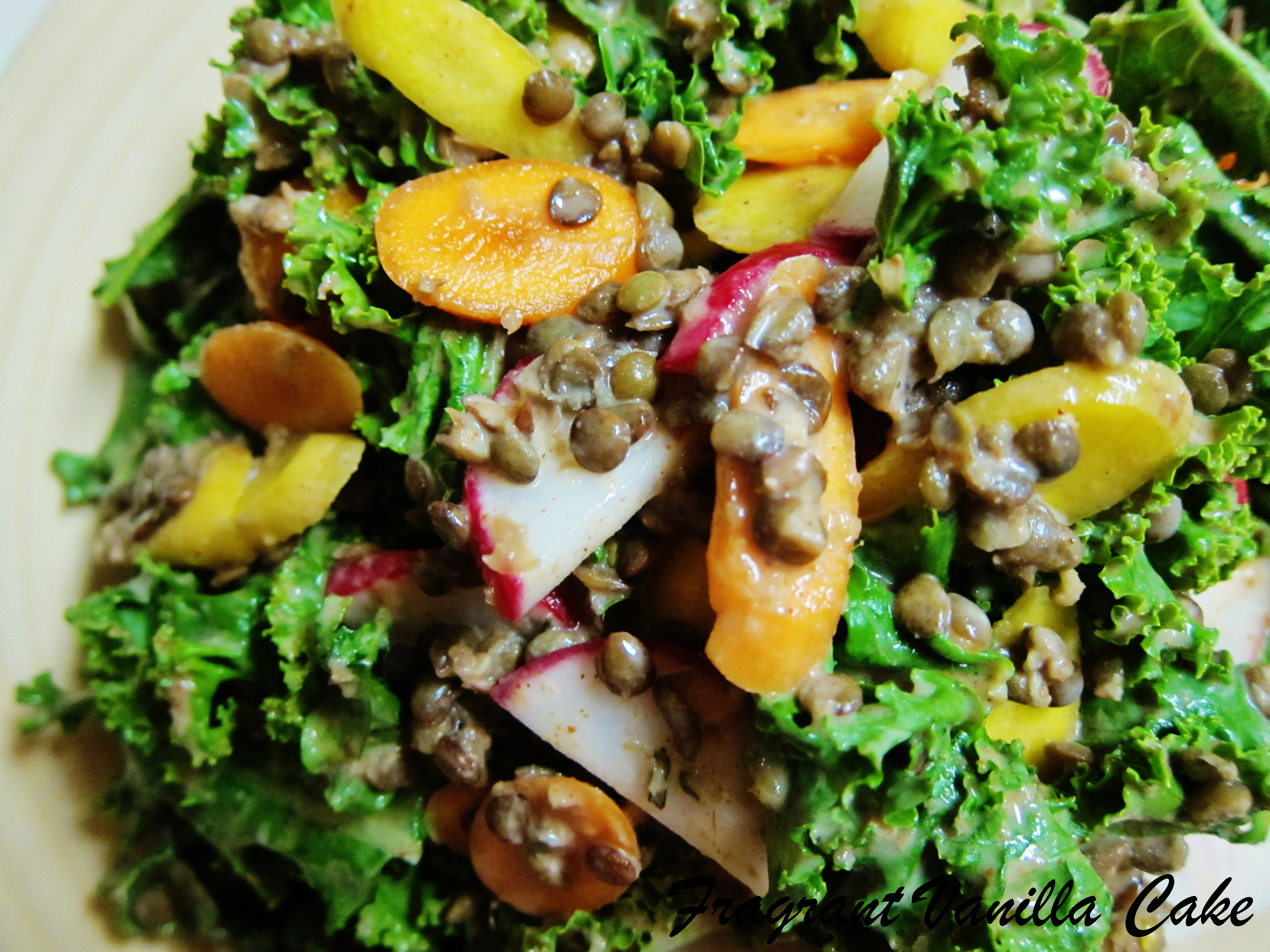 French Lentil and Kale Salad with Almond Dressing