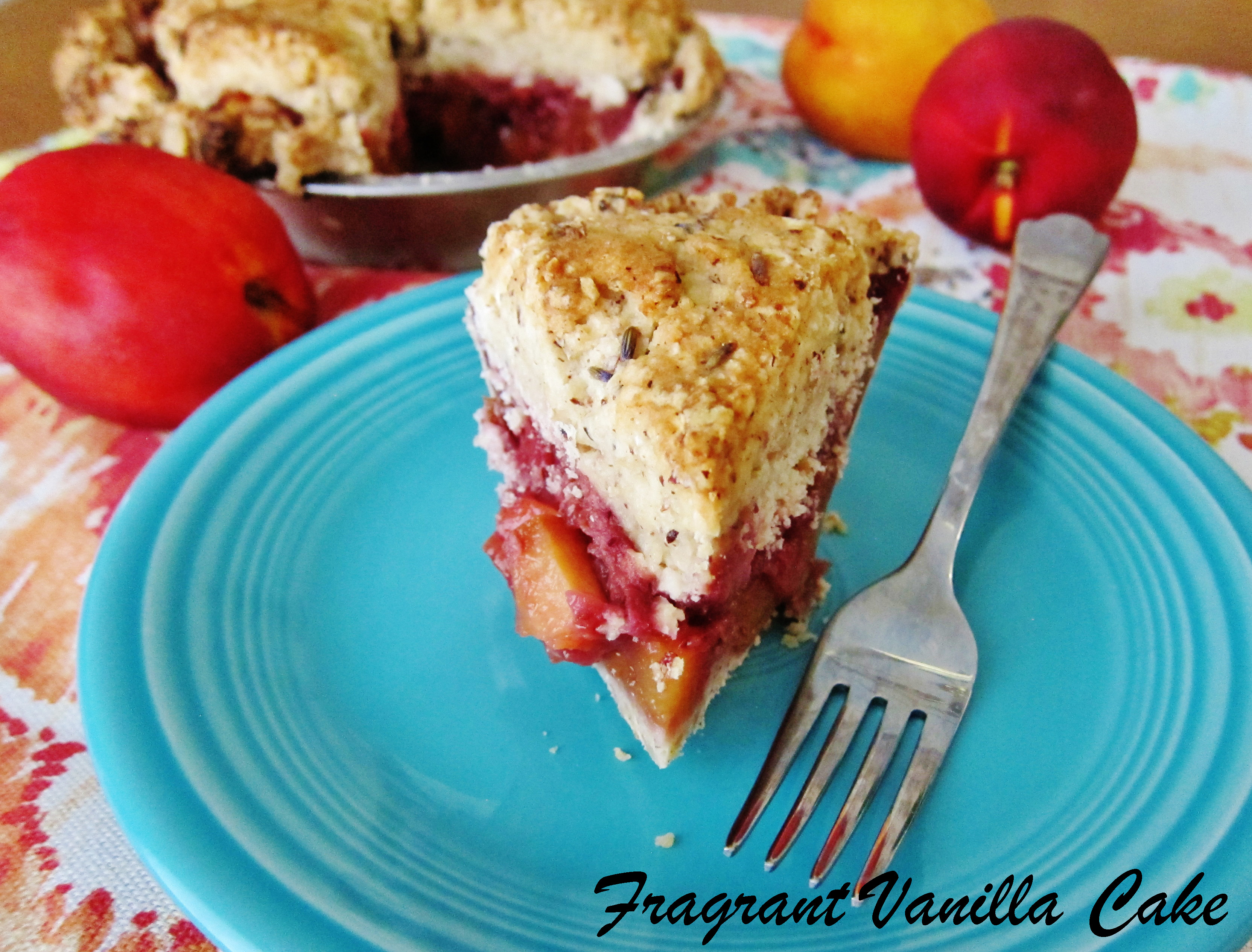 Vegan Nectarine Strawberry Lavender Almond Cobble Pie