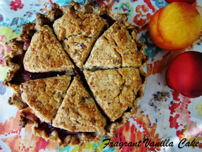 Nectarine Strawberry Lavender Cobble Pie