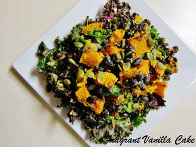 Roasted Pumpkin and Black Bean Salad with Groundnut Dressing 1