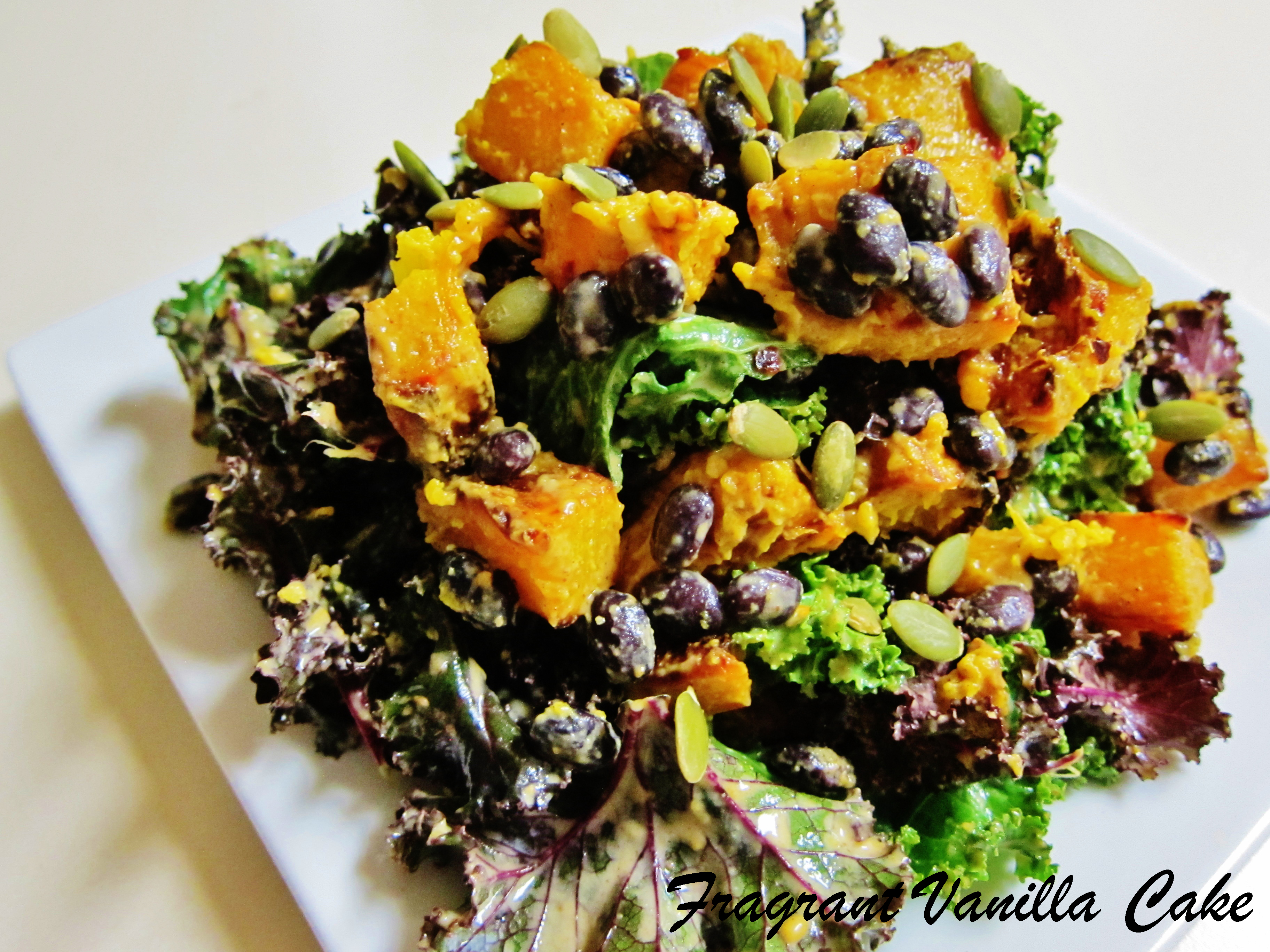 Roasted Pumpkin and Black Bean Salad with Groundnut Dressing