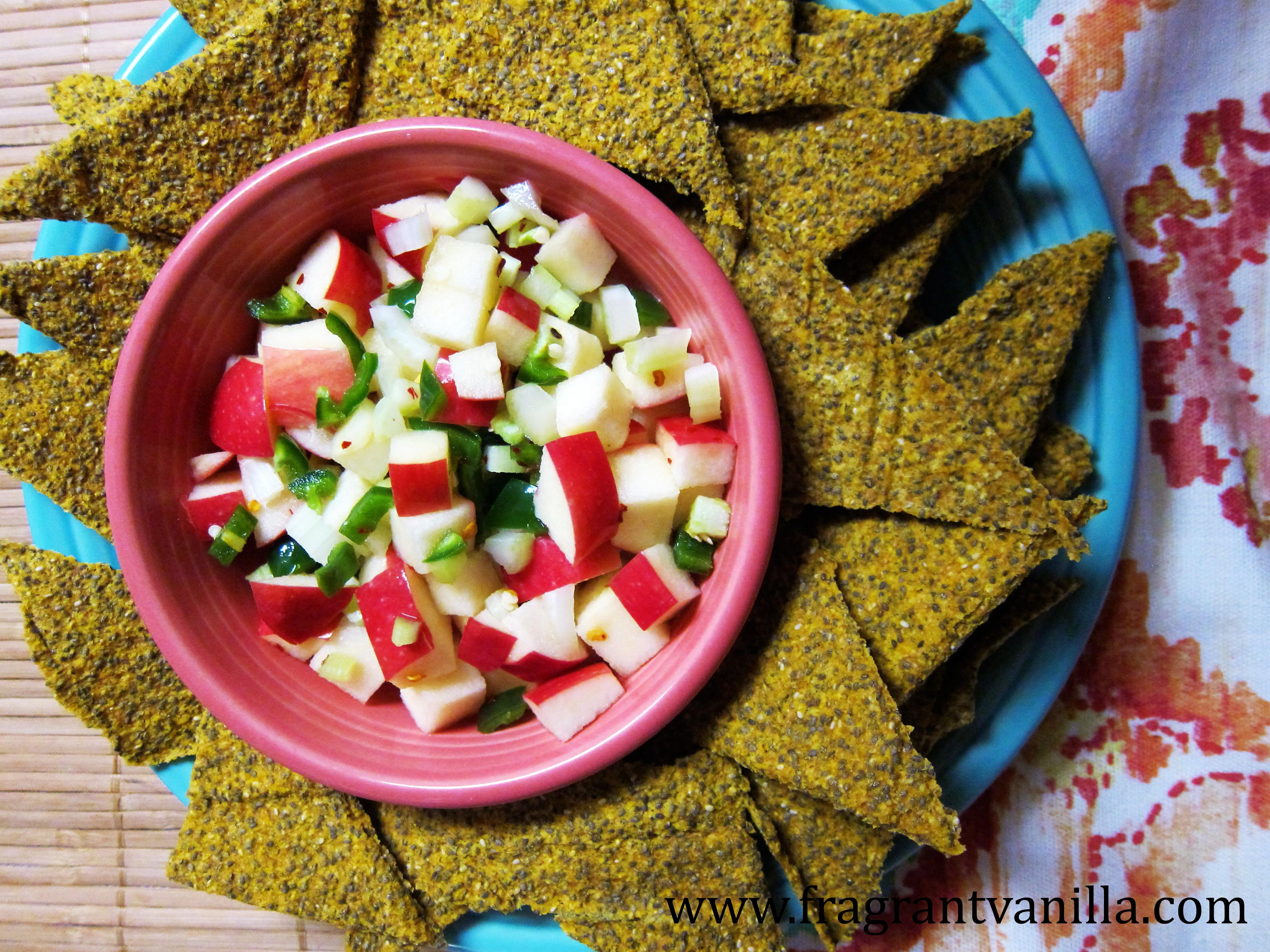 Spicy Raw Apple Salsa and Pumpkin Chia Chips