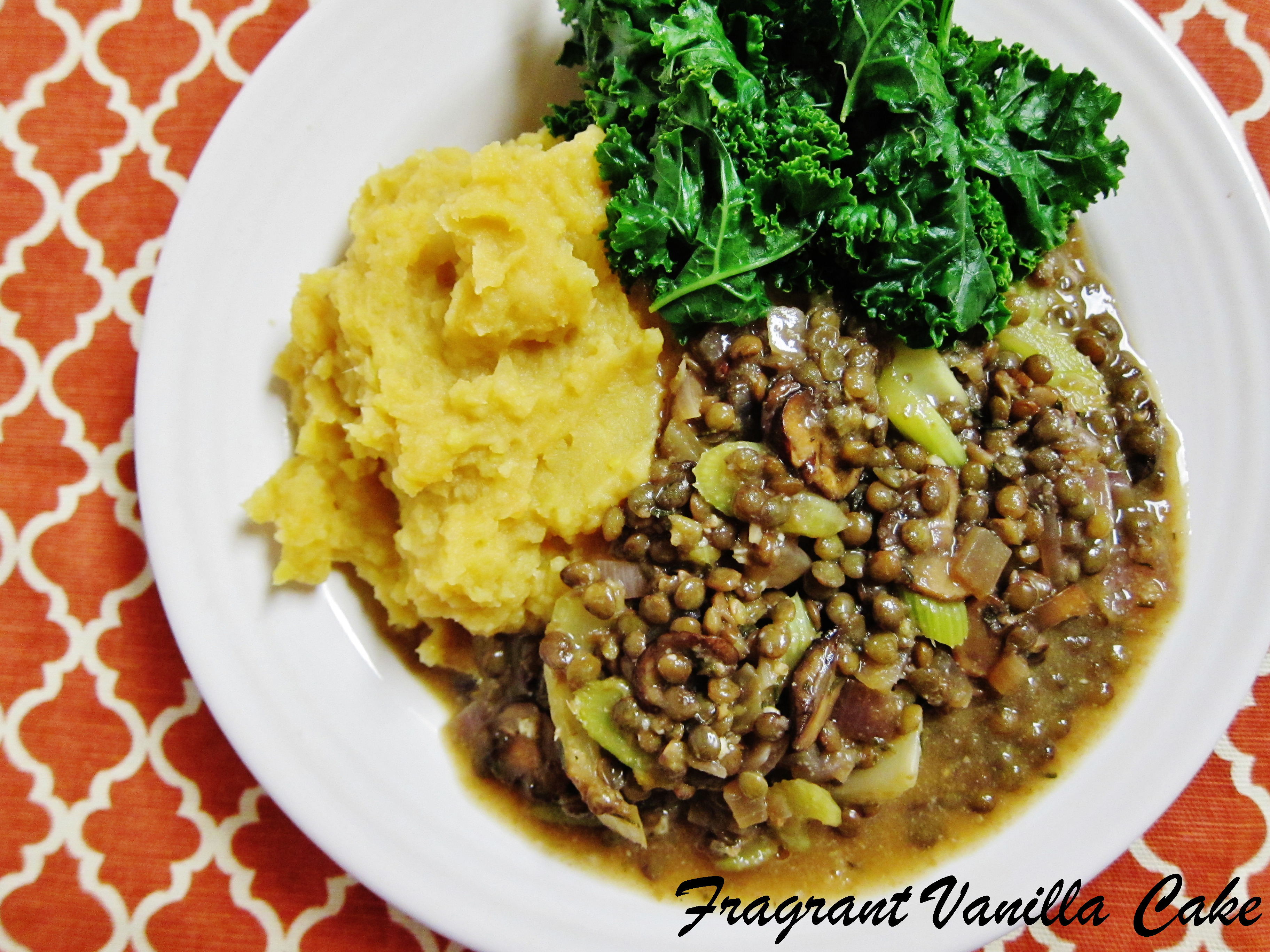 French Lentils in Mushroom Gravy with Mashed Sweet and Gold Potatoes
