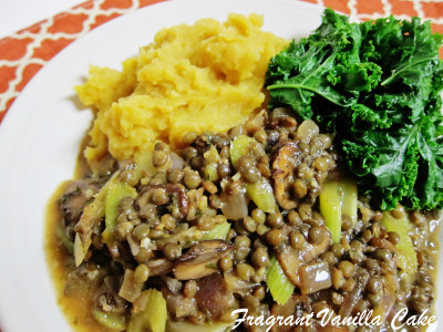 Lentils in mushroom gravy with sweet and gold mashed potatoes 2