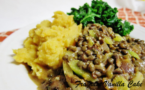 Lentils in mushroom gravy with sweet and gold mashed potatoes 3
