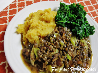 Lentils in mushroom gravy with sweet and gold mashed potatoes