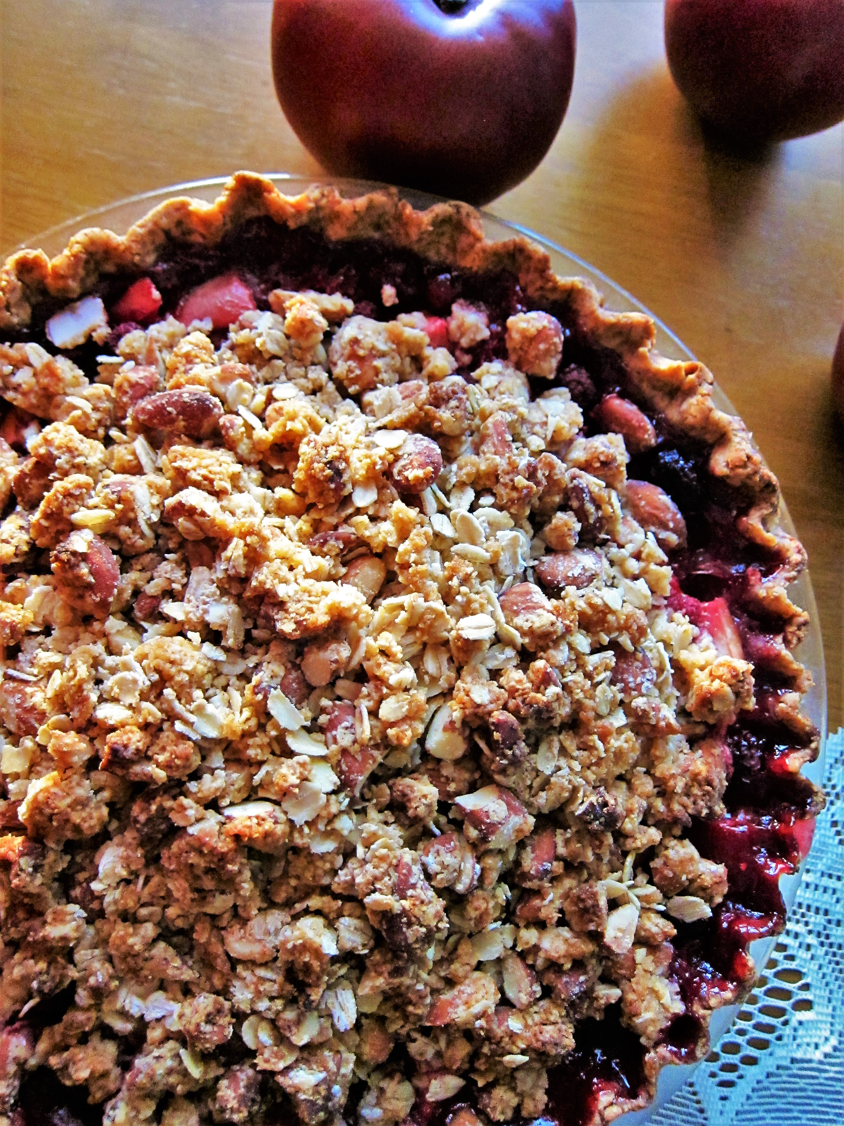 Vegan Apple Raspberry Pie with Almond Streusel Topping