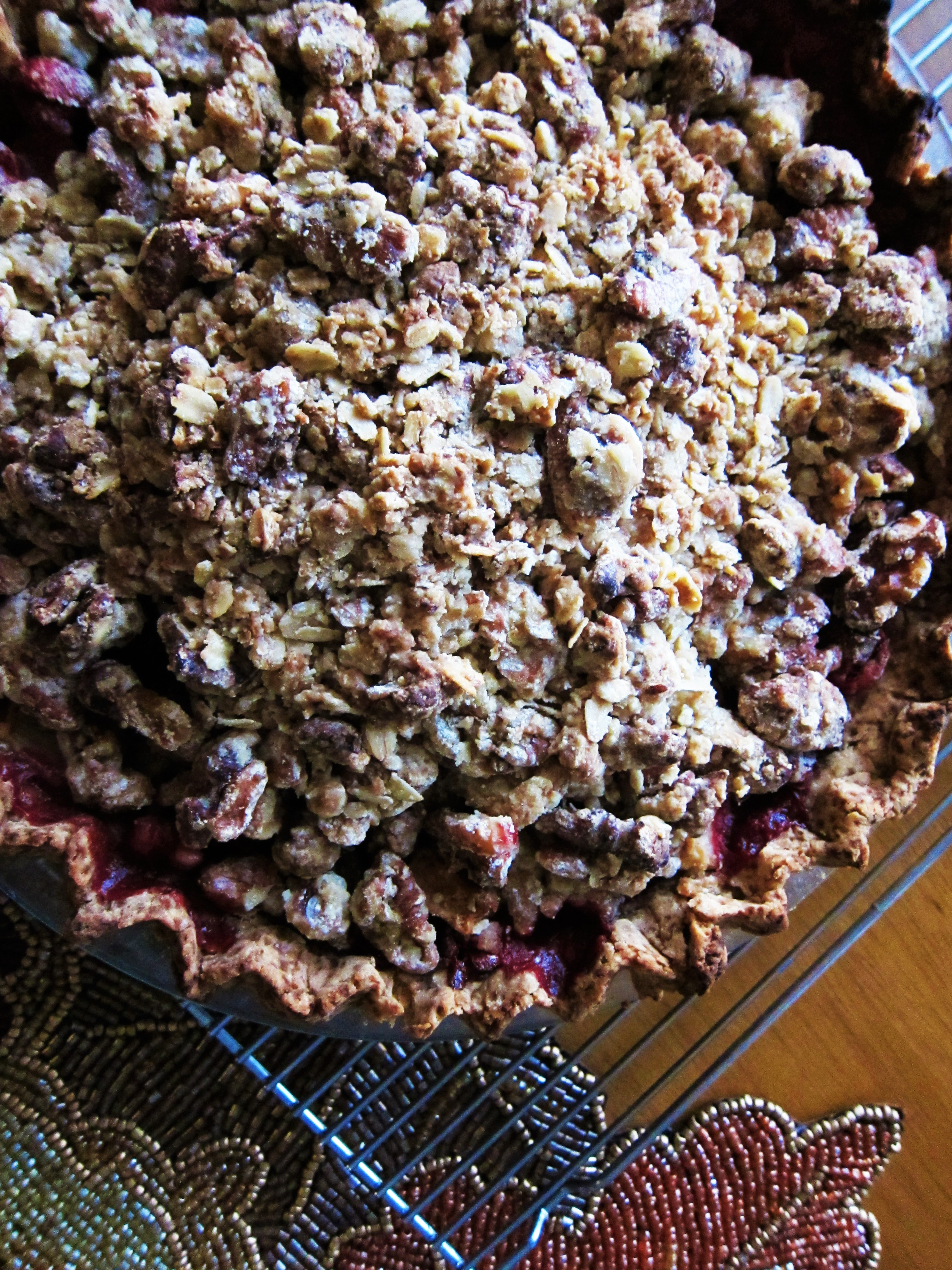 Vegan Cranberry Pear Pie with Walnut Crumble Topping