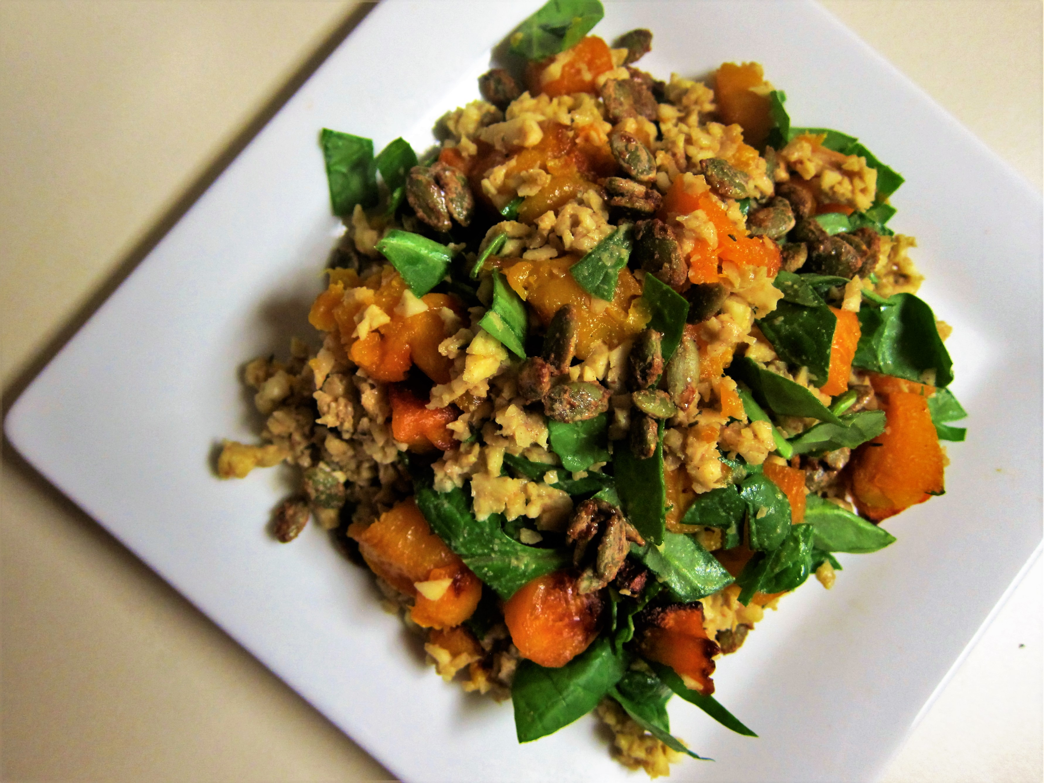"Roasted Squash Grain Free ""Rice"" Pilaf"