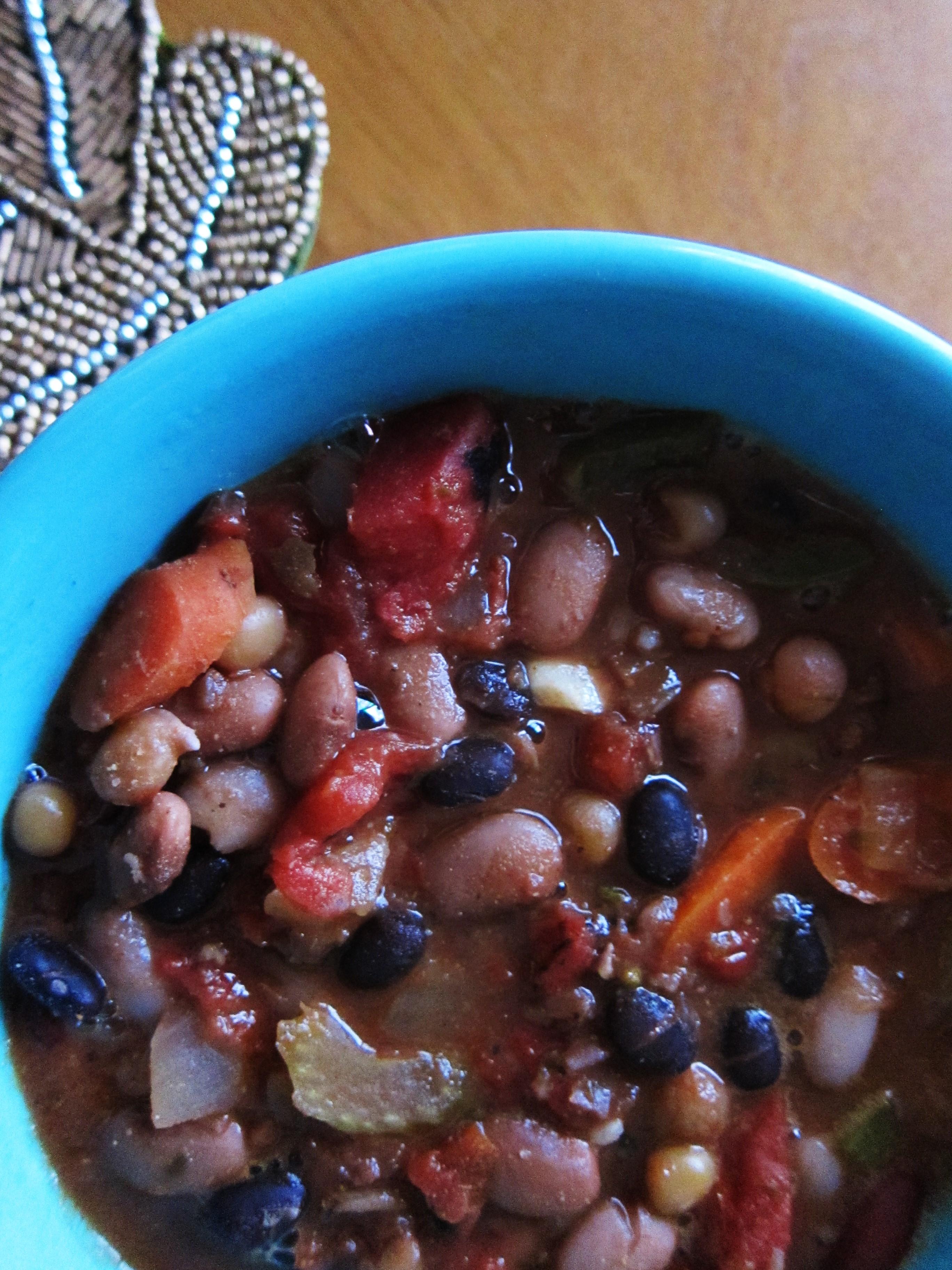 Big Batch Vegan Hearty Mixed Bean Chili