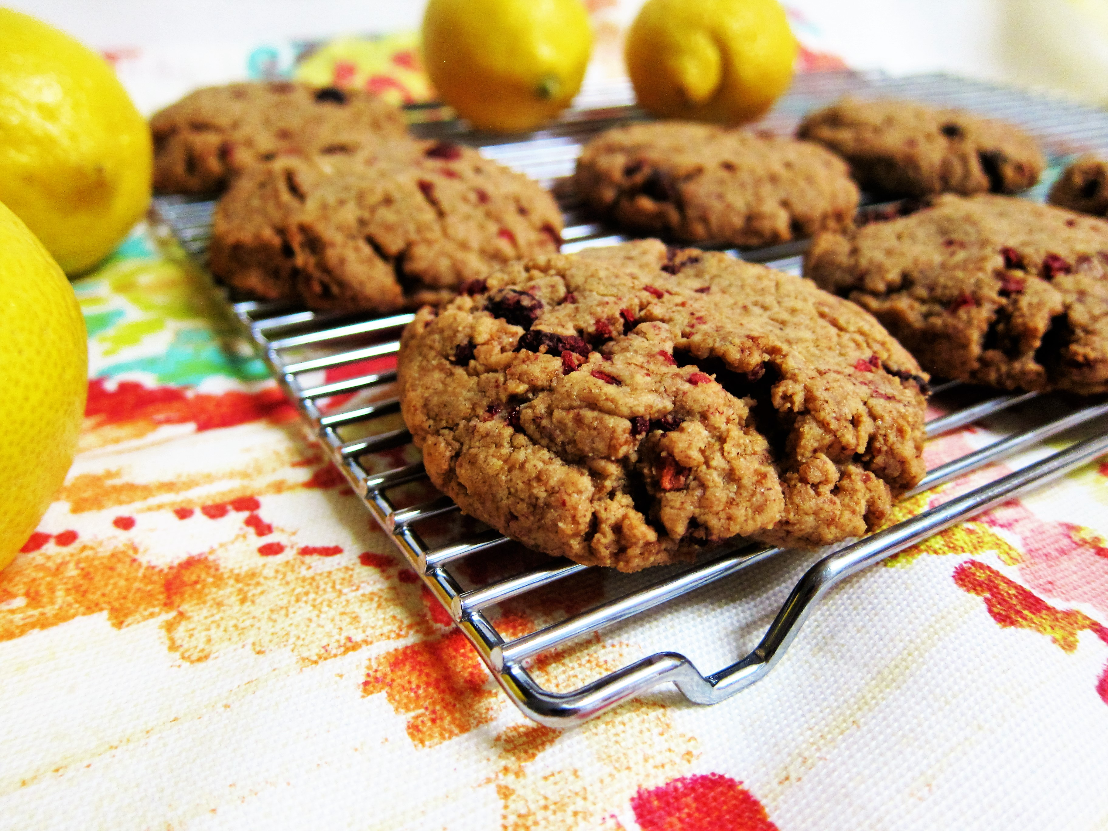 Vegan Almond Lemon Raspberry Cookies