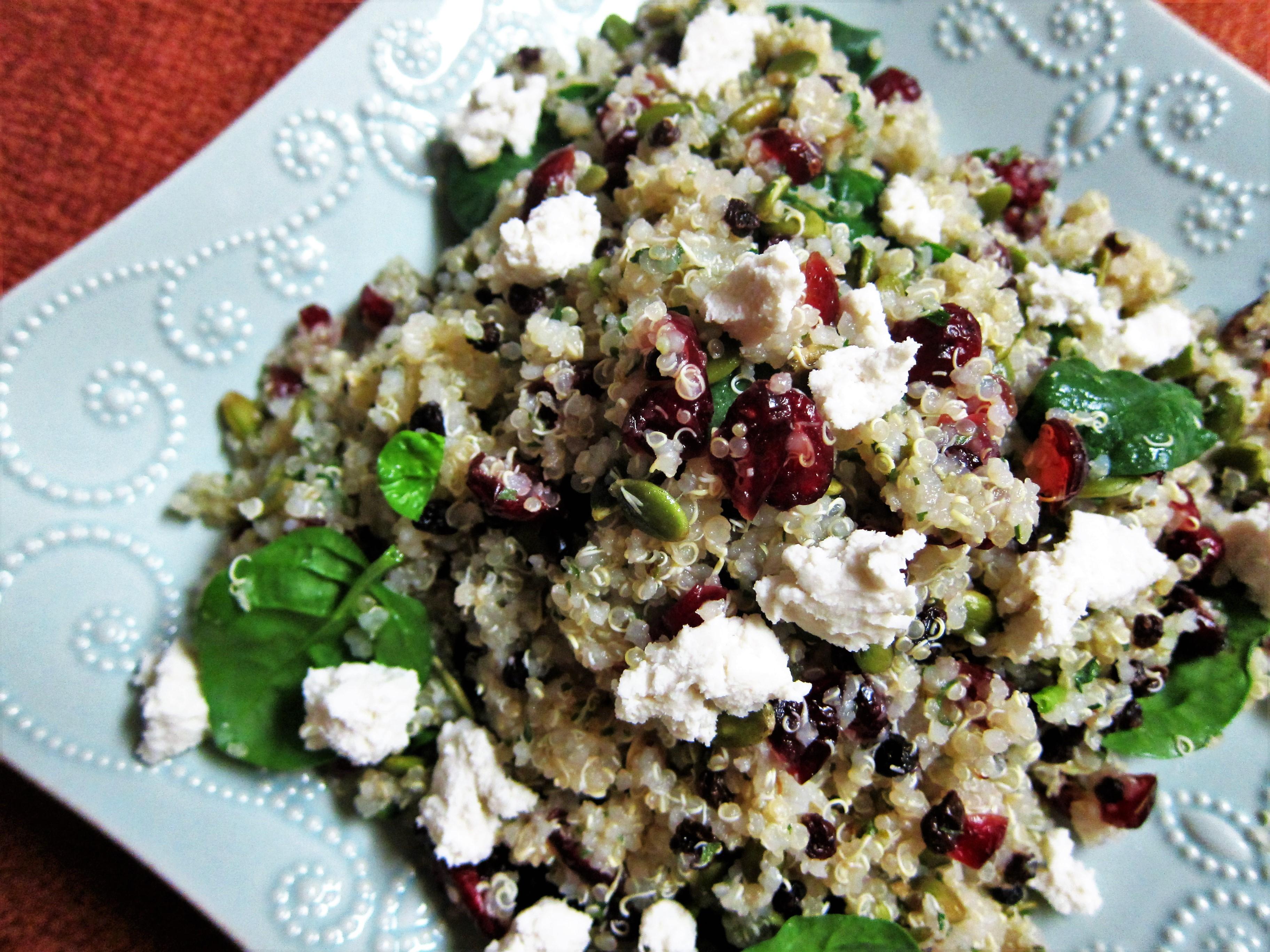 Jeweled Quinoa Salad with Macadamia Chevre