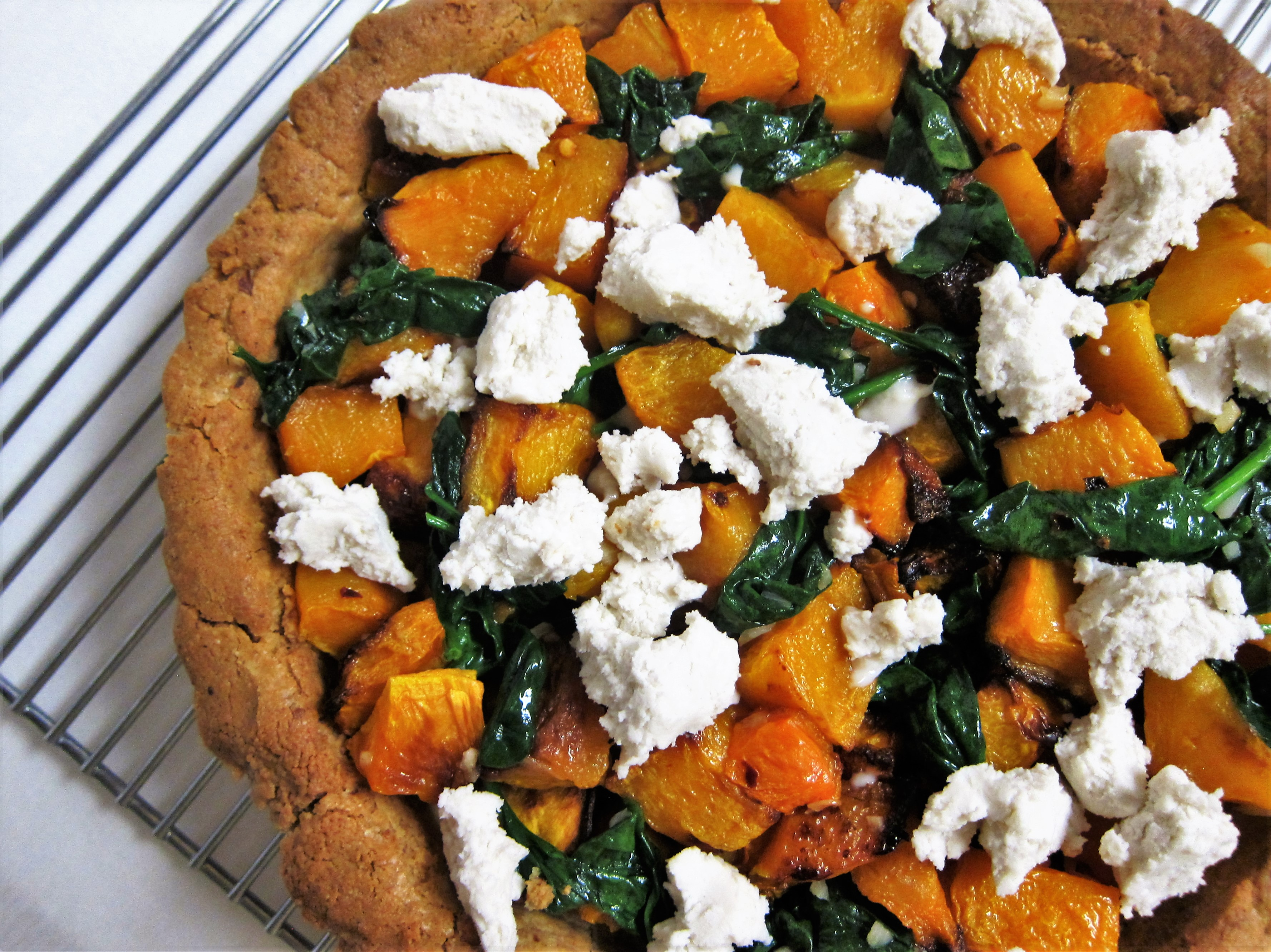 Vegan Roasted Squash and Chevre Tart