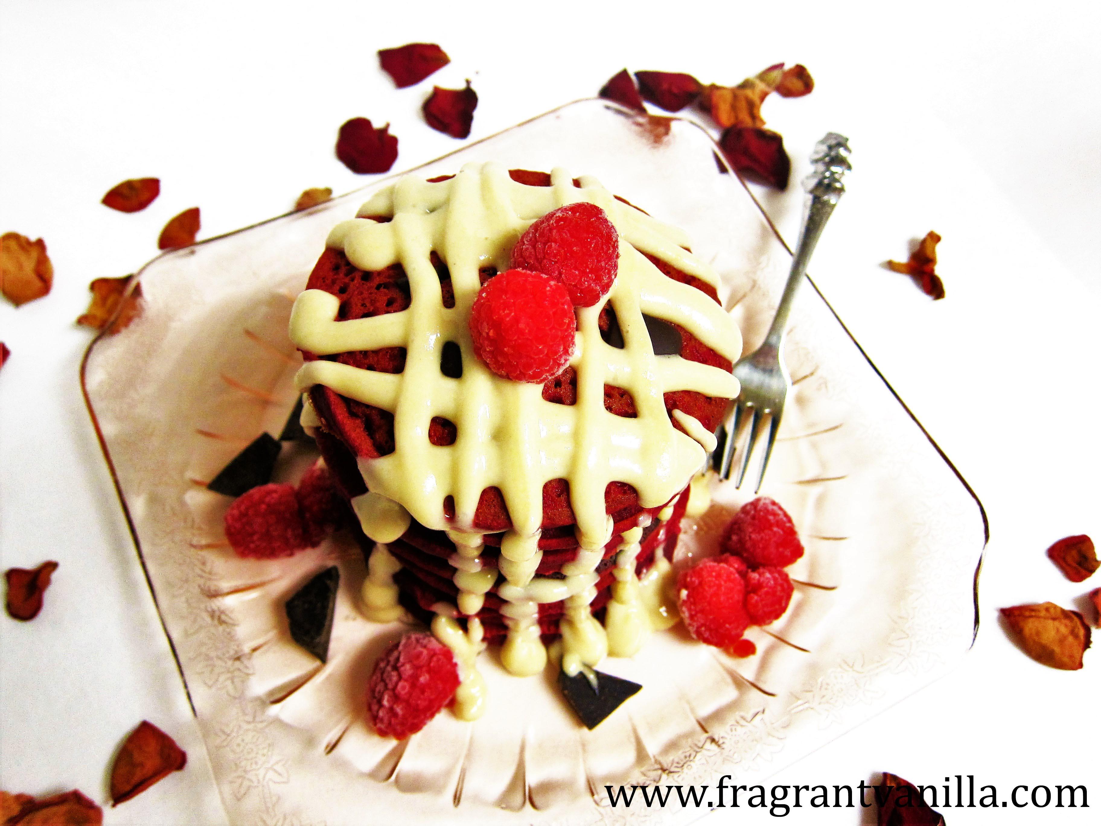 Vegan Red Velvet Chocolate Chunk Pancakes