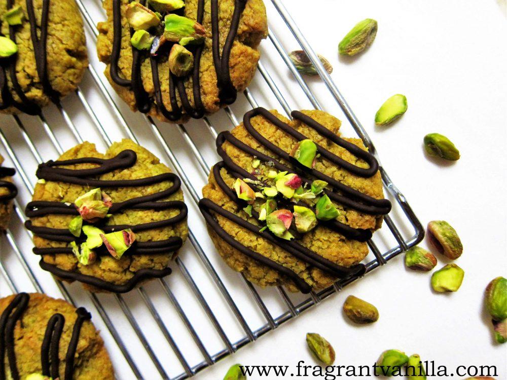 Vegan Pistachio Butter Cookies with Dark Chocolate
