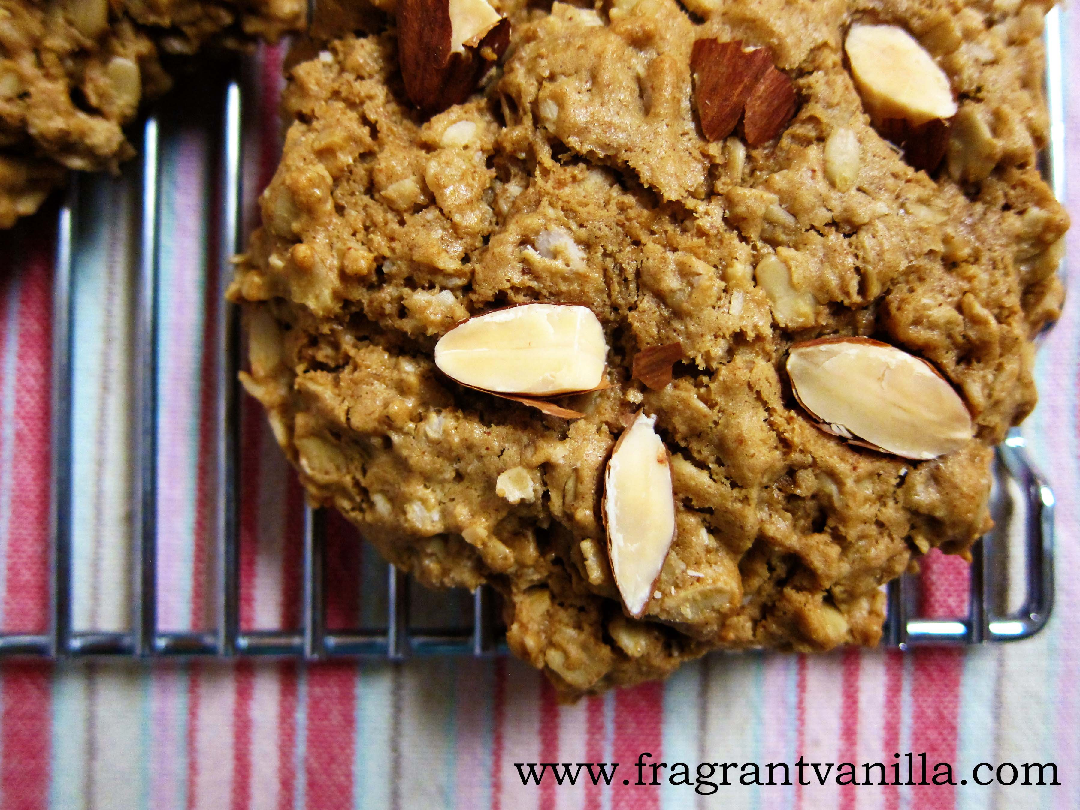 Vegan High Protein Almond Butter Oatmeal Cookies