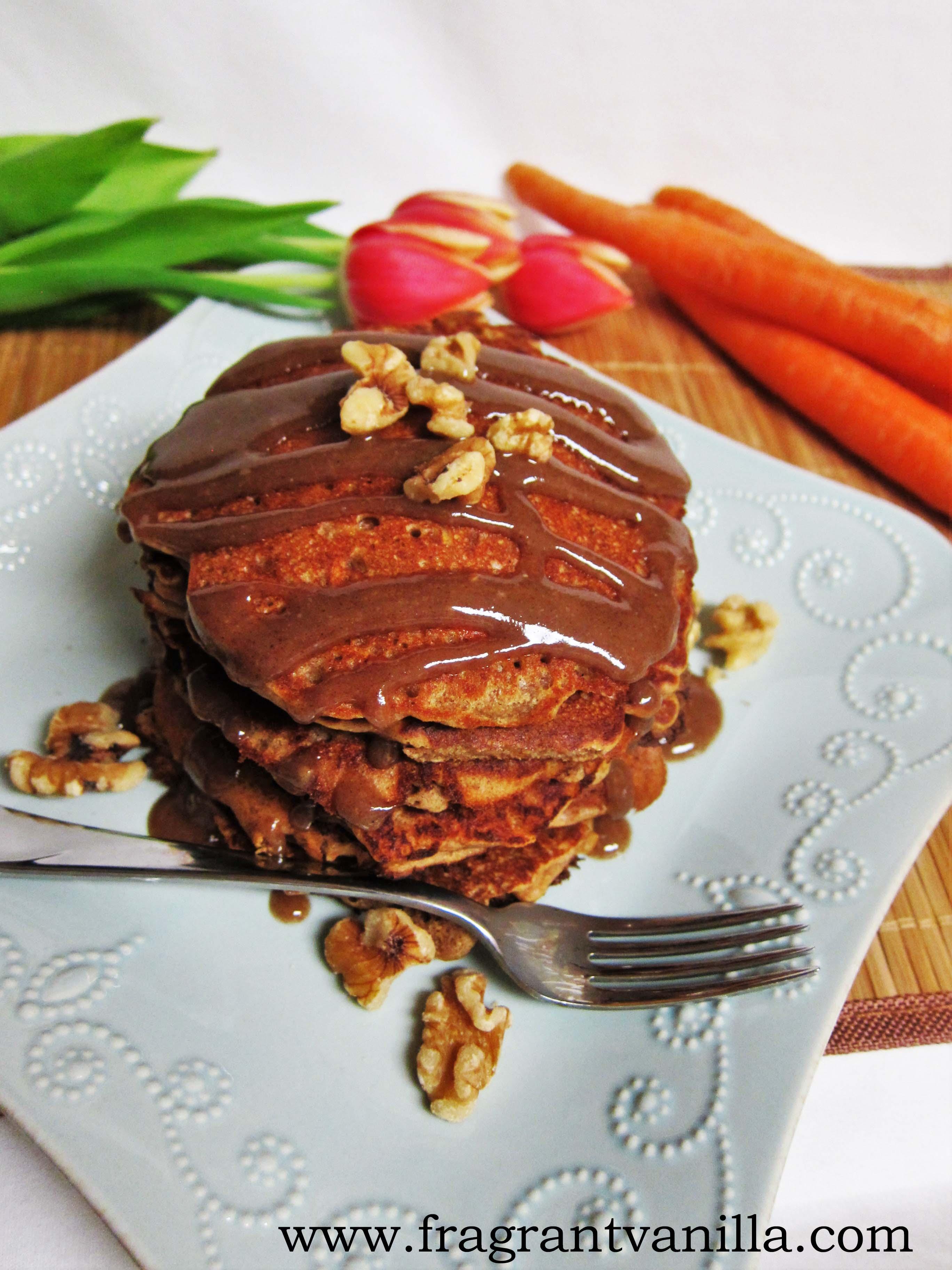 Vegan Carrot Cake Pancakes with Caramel Drizzle