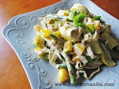 Creamy vegan spring pasta 1