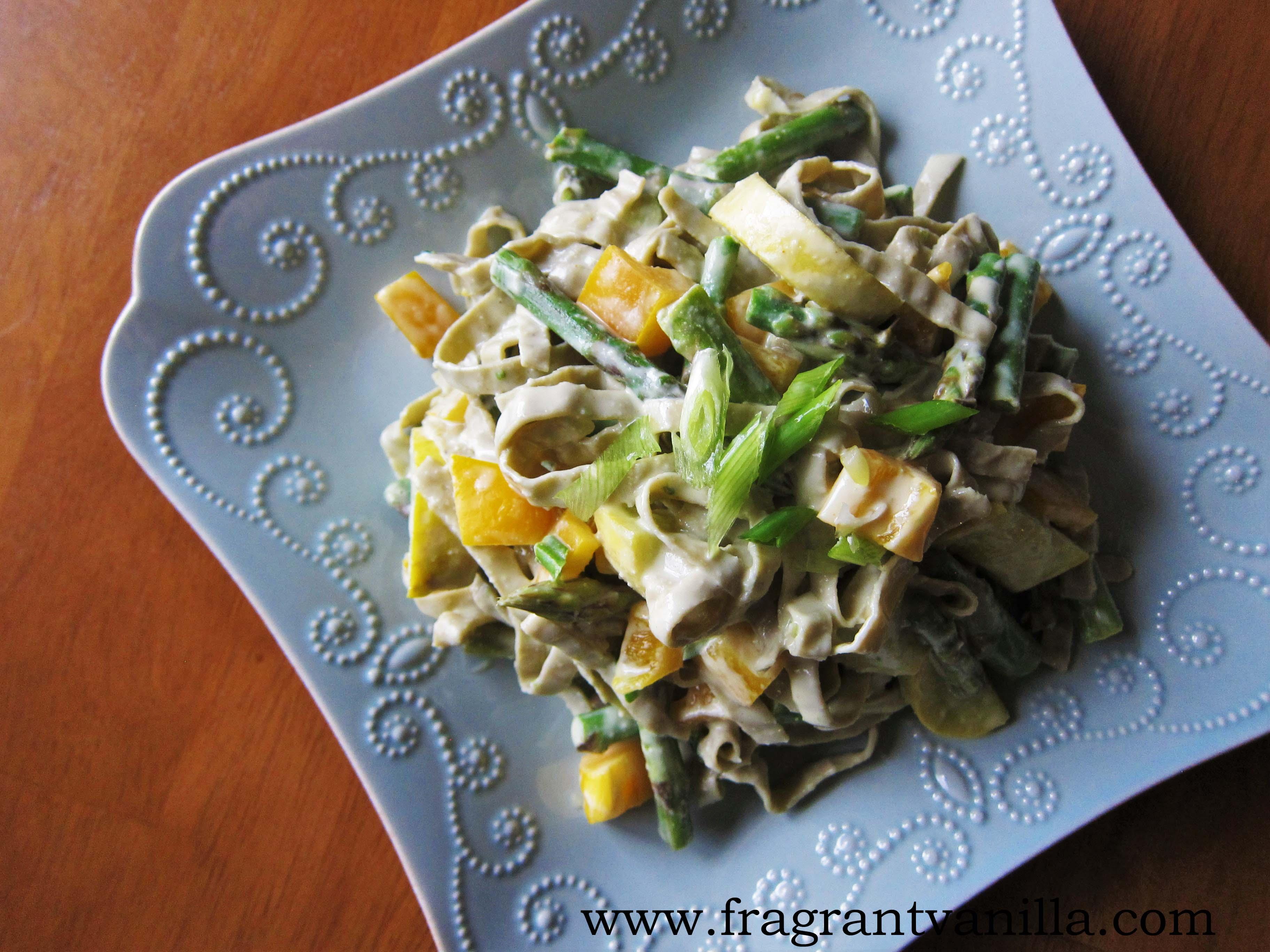 Creamy Vegan Spring Pasta Primavera