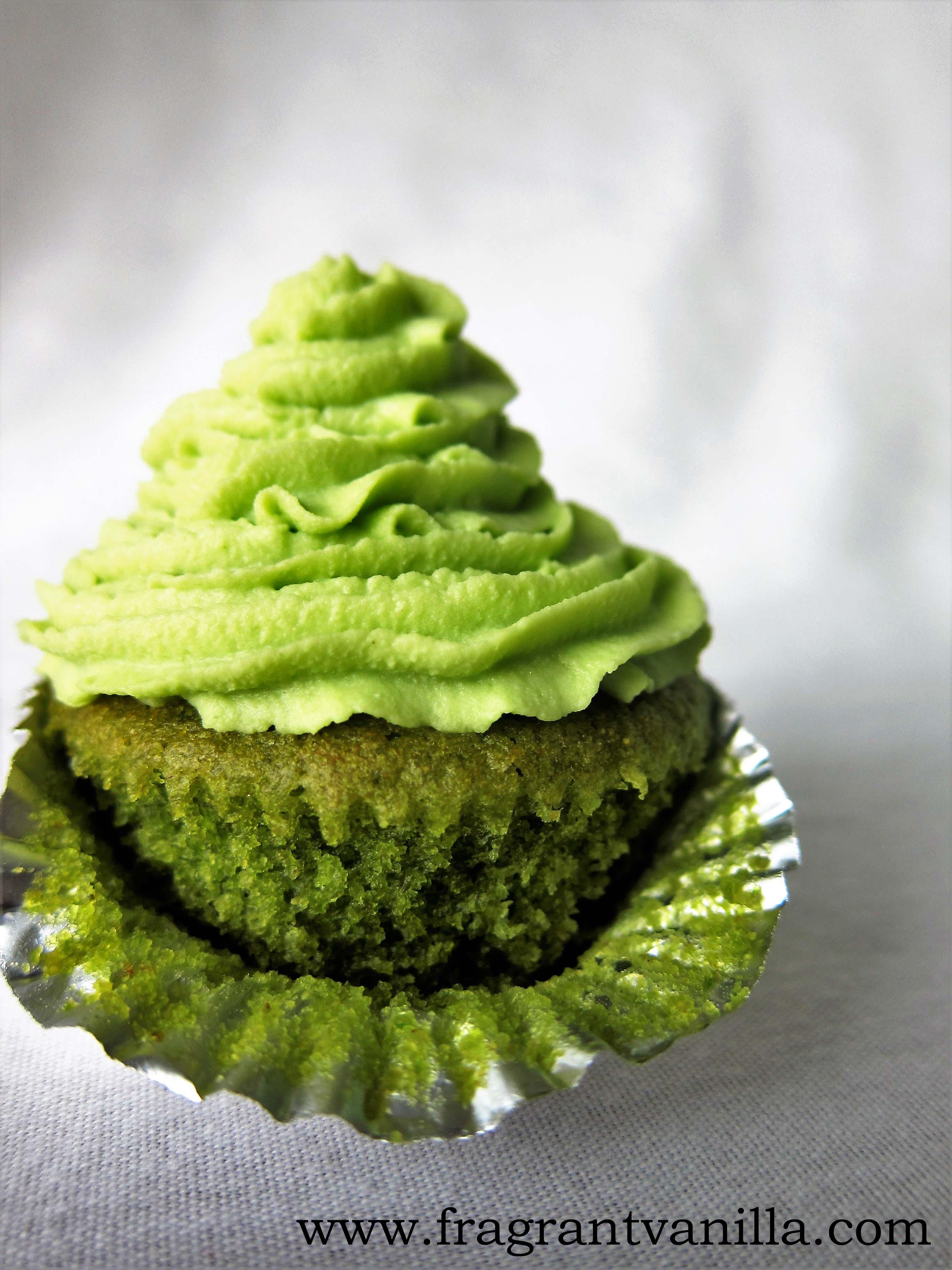 Mini Lucky Green Vegan Cupcakes