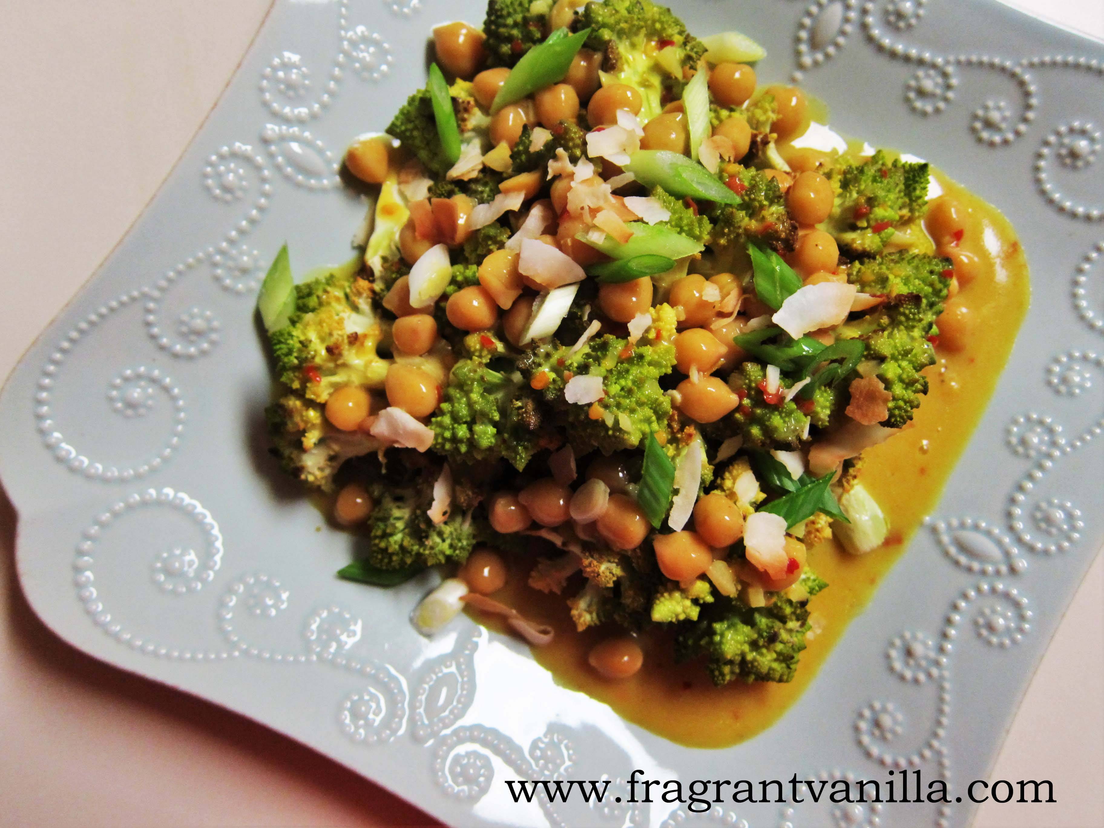 Coconut Curry Roasted Romanesco with Chickpeas