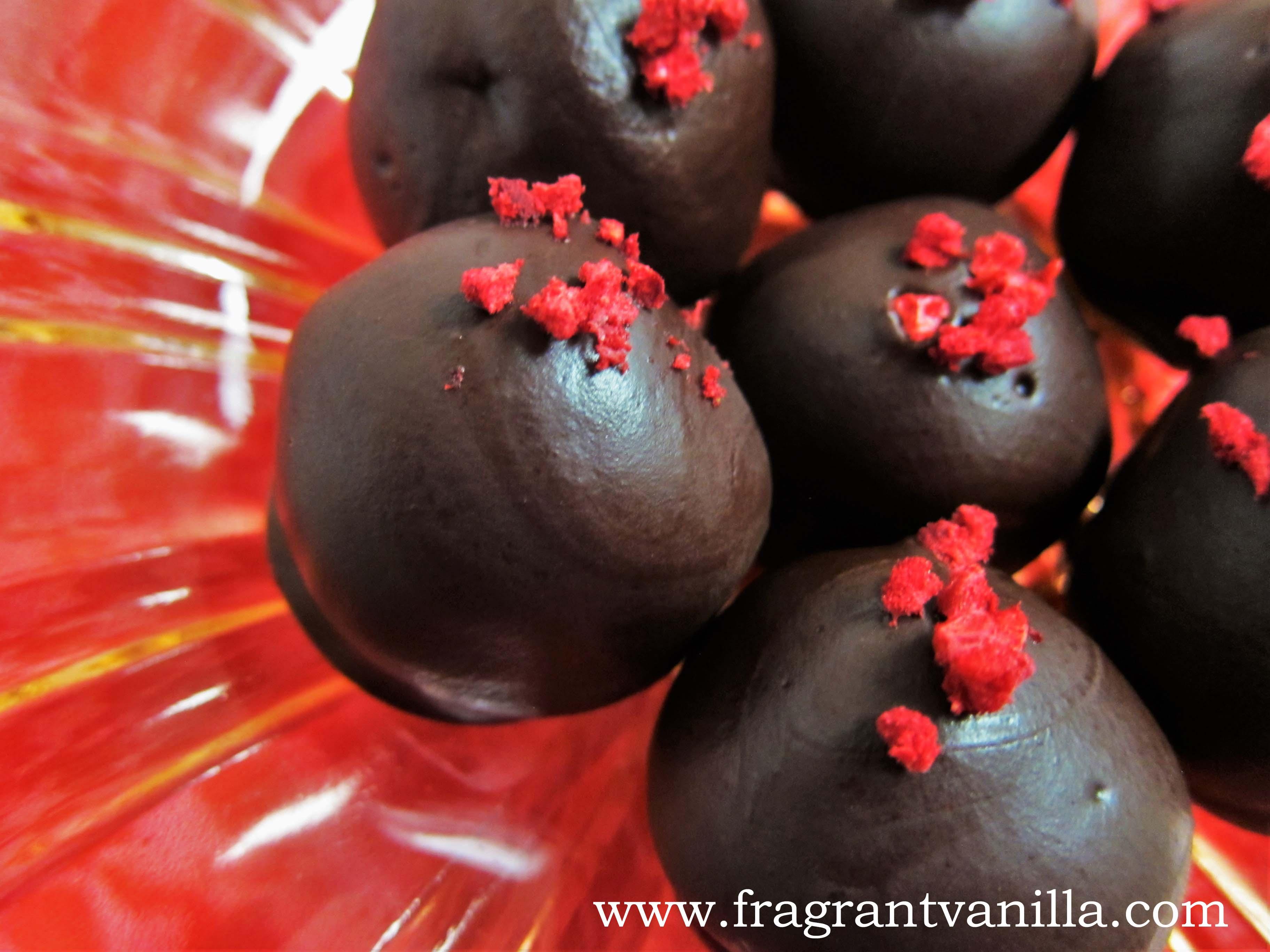 Raw Raspberry Marzipan Truffles
