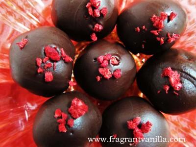 Raspberry Marzipan Truffles