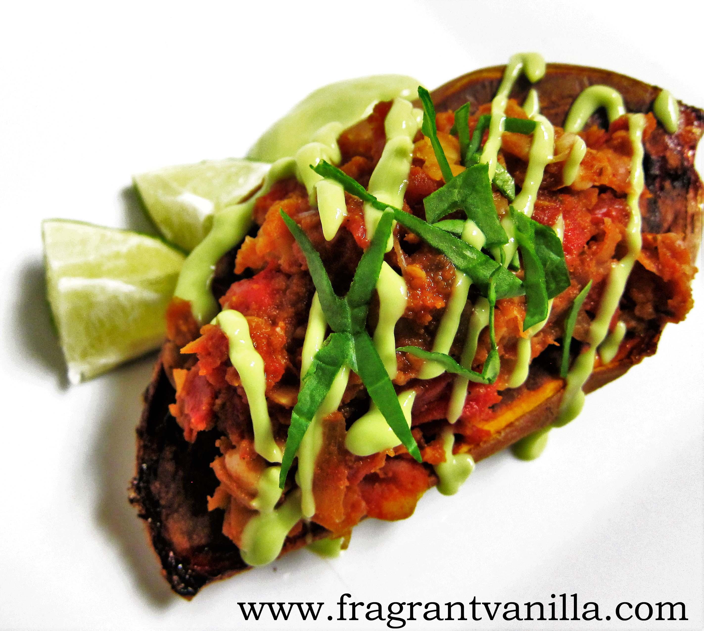 Vegan Chickpea Chorizo Stuffed Yams