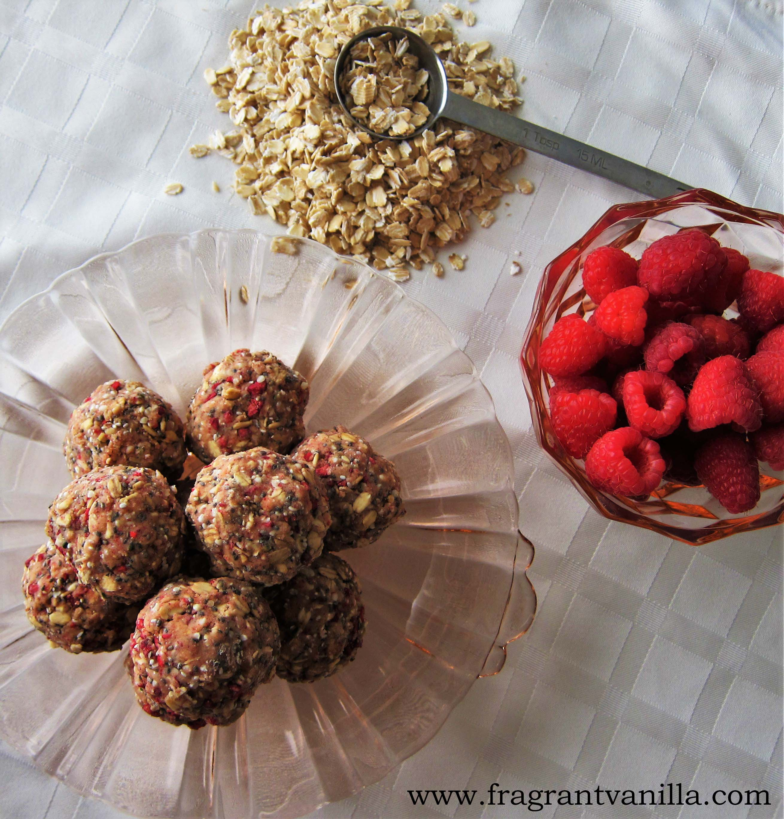 What I Eat In A Day and Vegan Raspberry Oat Energy Bites